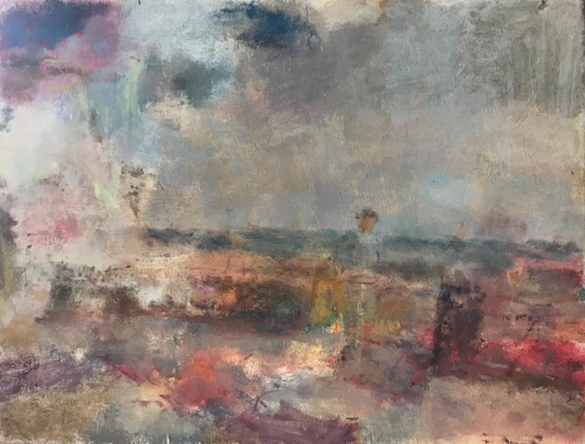 Artist: Anja Niedring  Title: Saltdean with Figure  Size: 26 x 34 cm  Medium: Oil on board  Price: £580