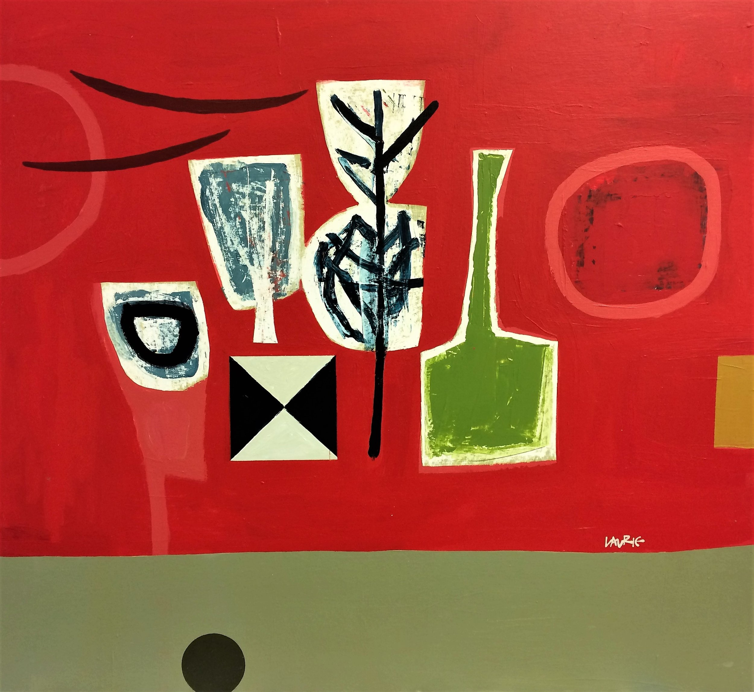 Artist: Simon Laurie  Title: Arrangement on Red  Size: 81 x 91 cm  Medium: Acrylic on board  Price: £4800   Buy Now