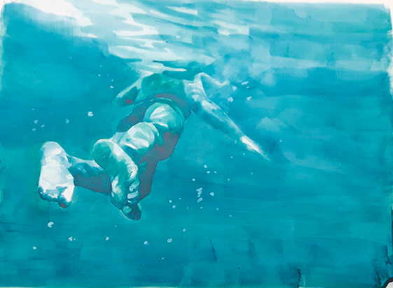 Artist: Patsy McArthur  Title: Swimmer in Turquoise  Size: 56 x 76 cm  Medium: Ink on paper  Price: £1200   Buy Now