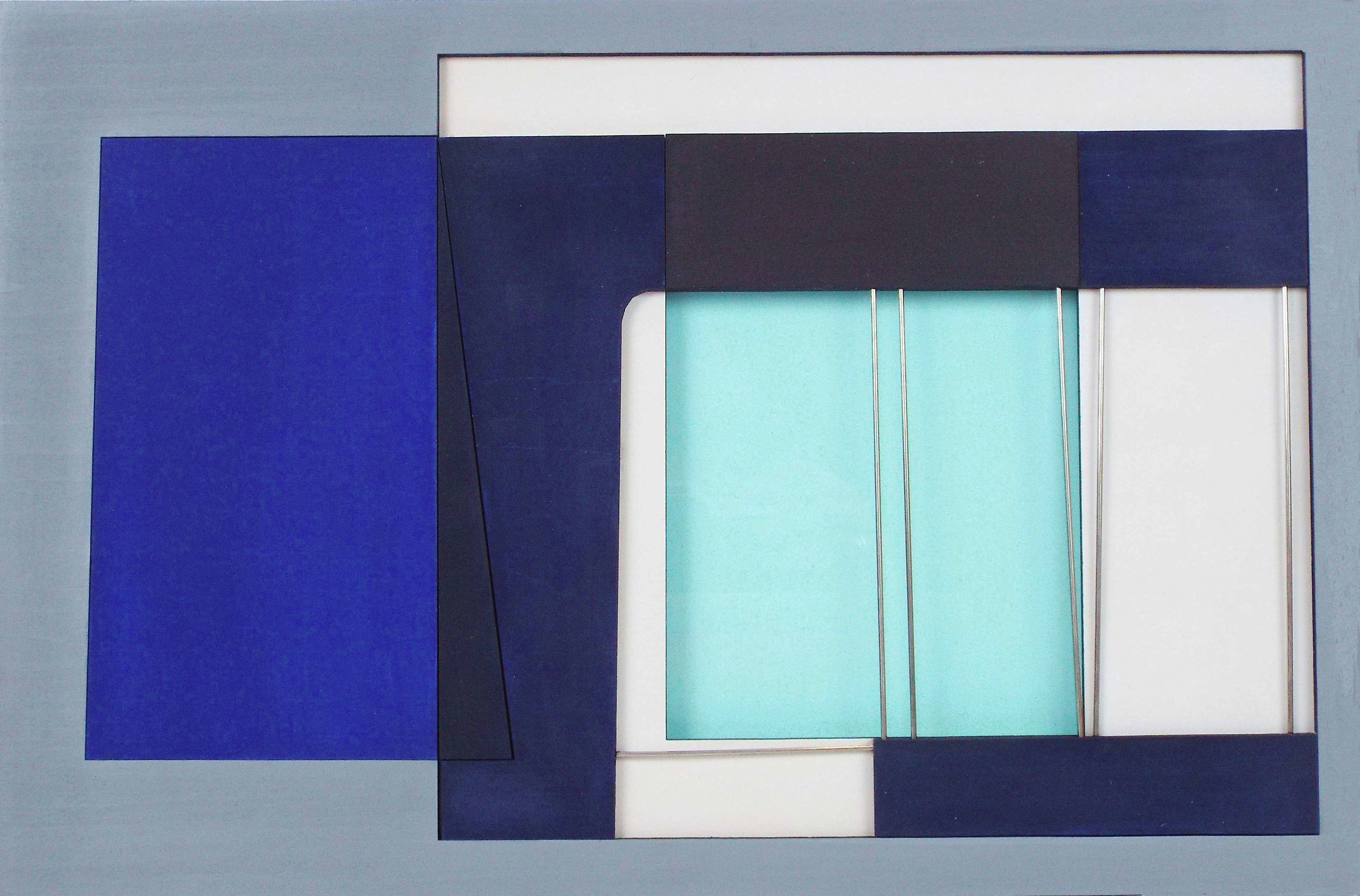 Artist: Hetty Haxworth  Title: Luminous Pools  Size: 41 x 58 cm  Medium: Wood and perspex relief  Price: £600 fr   Buy Now