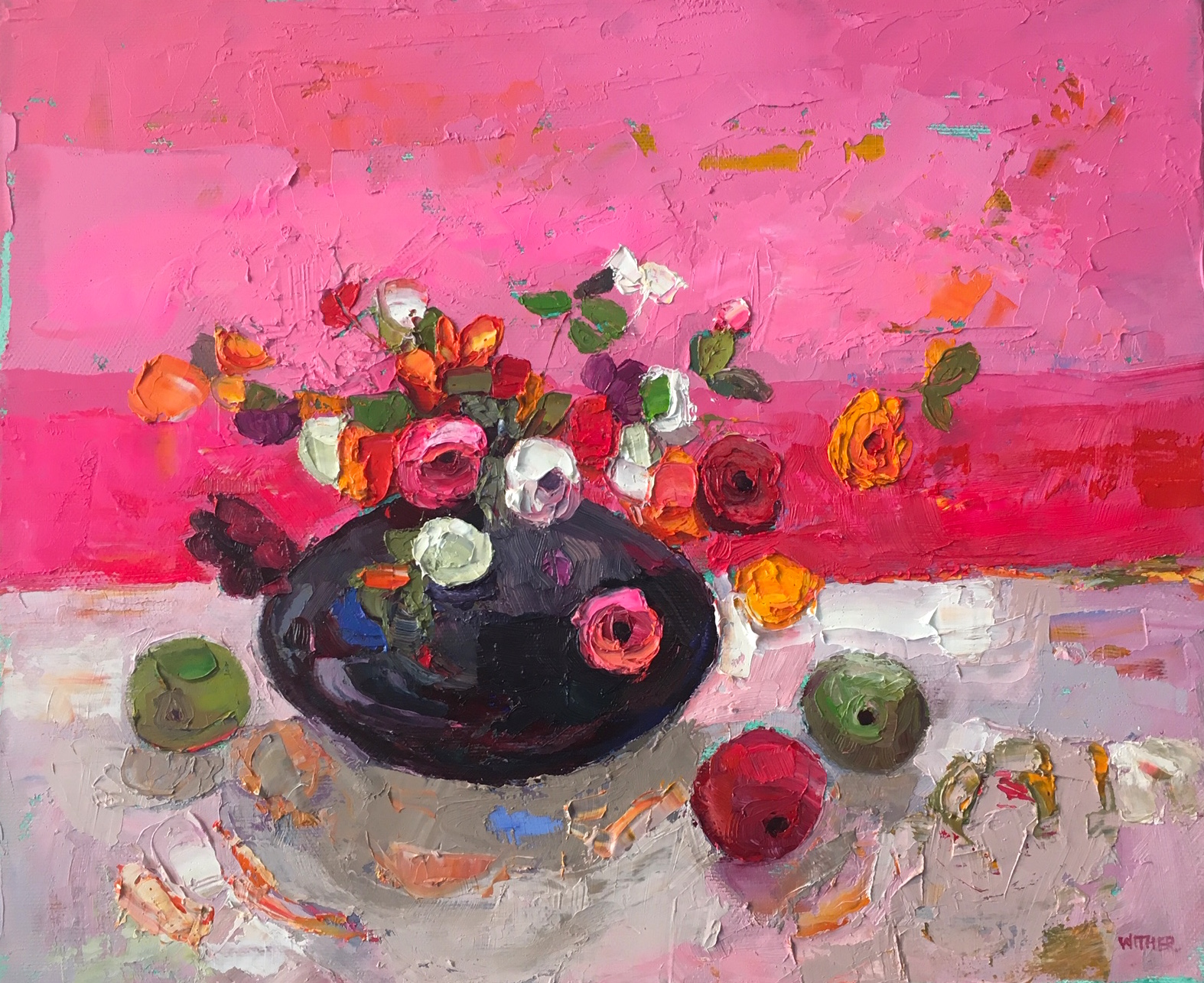 Artist: Kirsty Wither  Title: Three Wee Apples  Size: 25 x 30 cm  Medium: Oil on canvas  Price: £1500   Buy Now