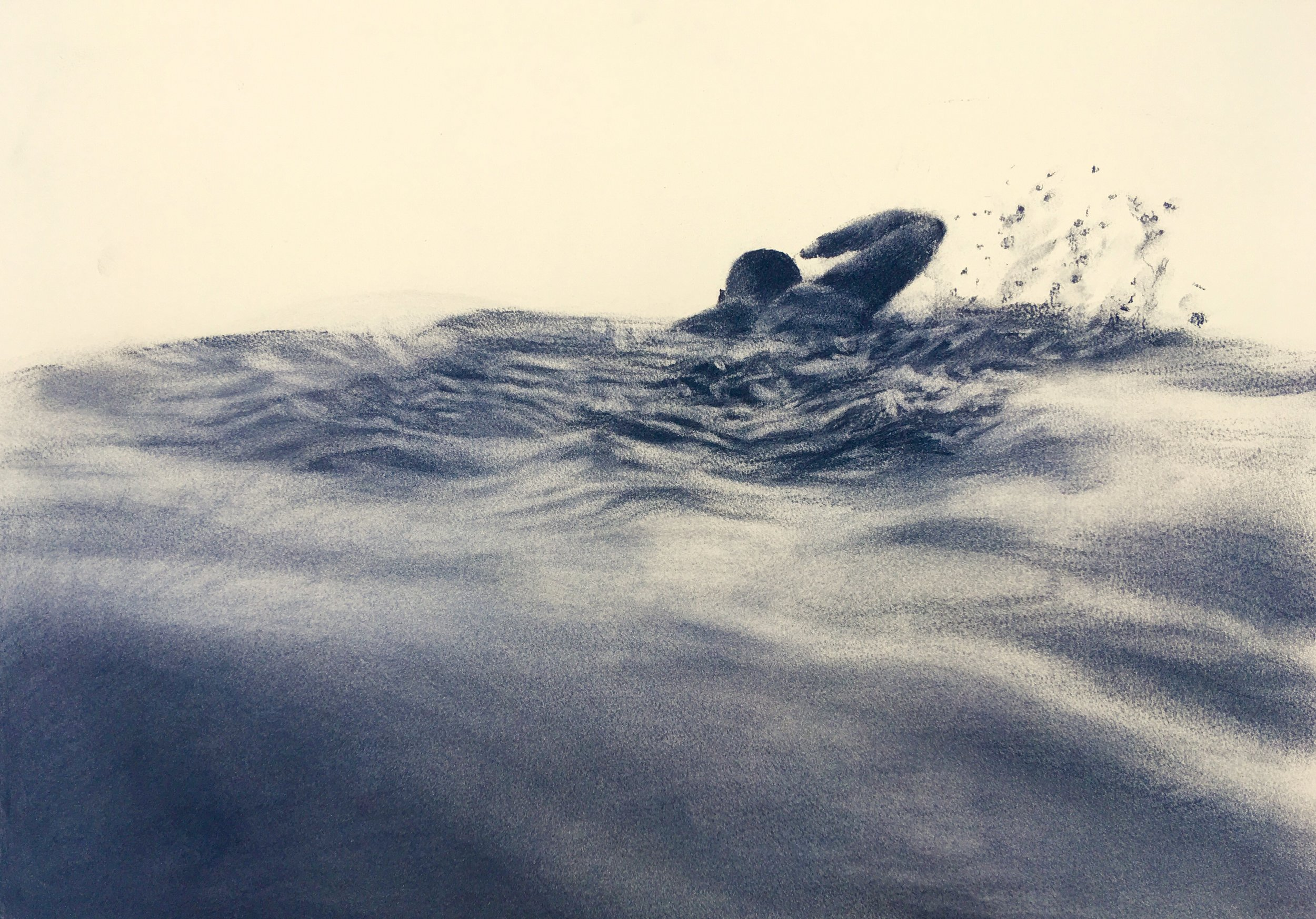 Artist: Patsy McArthur  Title: Infinity Pool Study  Size: 110 x 110 cm  Medium: Charcoal on paper  Price: £3500   Buy Now