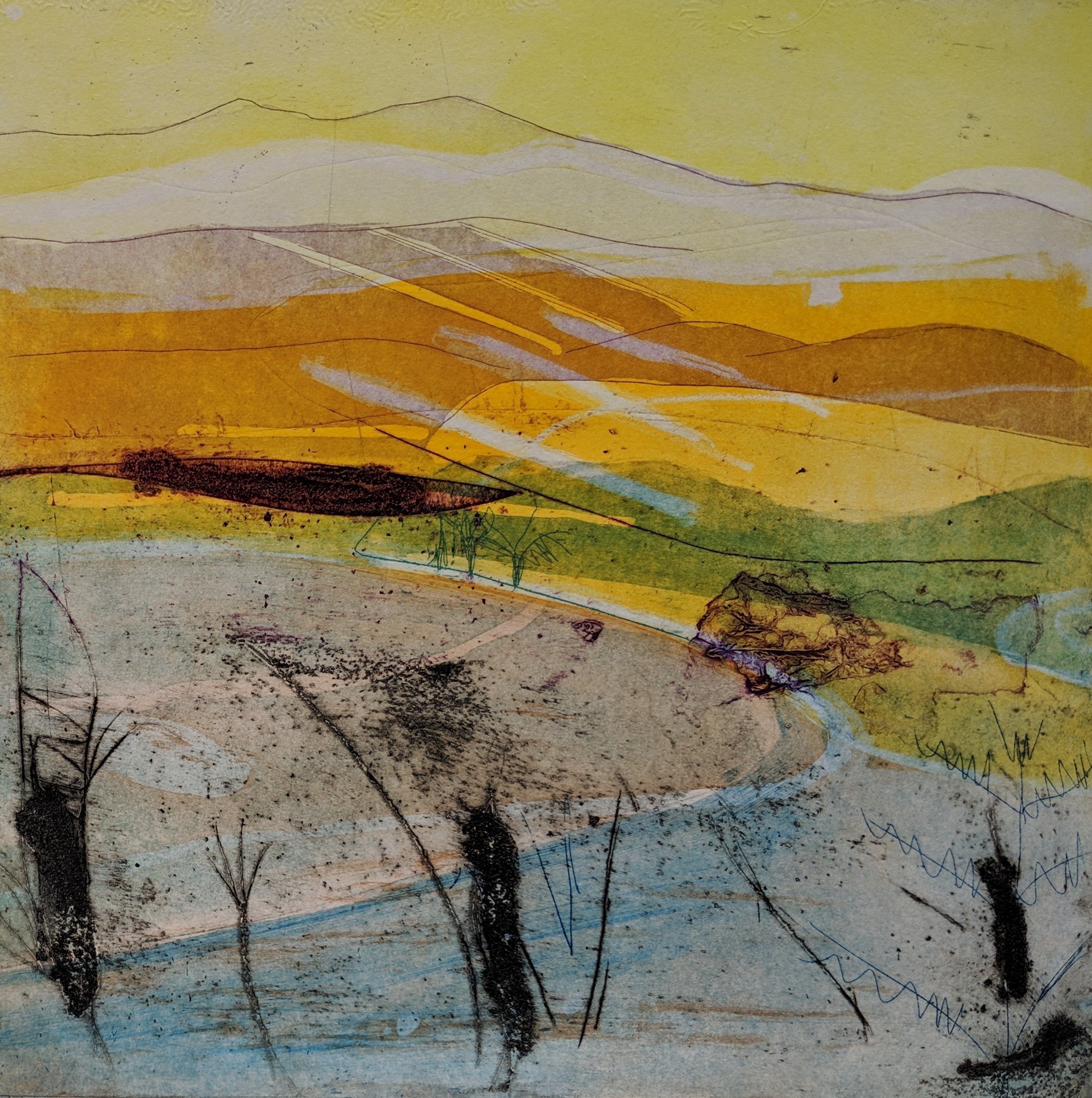 Artist: Louise Davies  Title: Winter's End  Size: 33 x 33 cm  Medium: Etching and collograph, ed. 2 of 75  Price: £350 fr, £250 u/f
