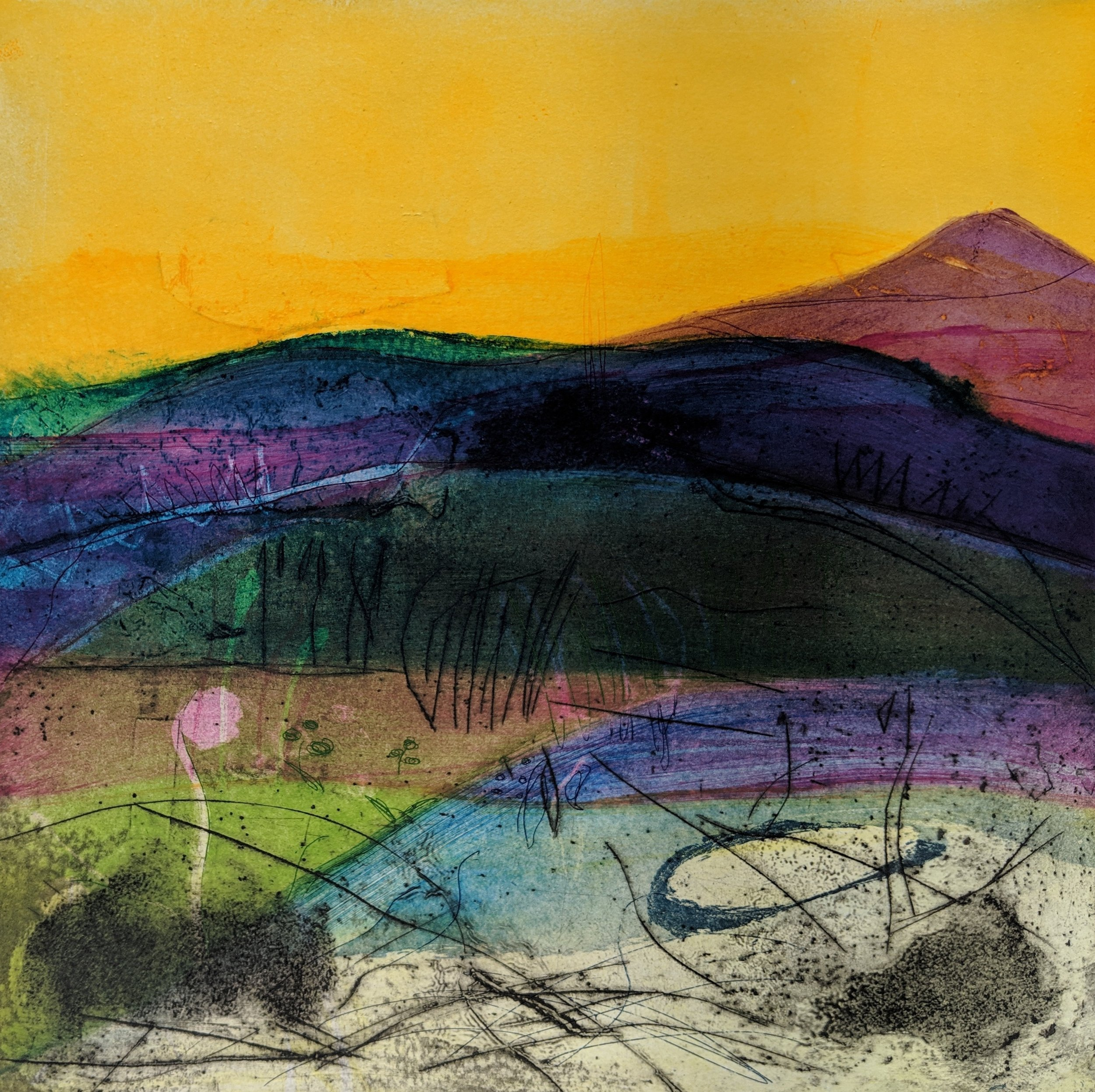 Artist: Louise Davies  Title: Autumn Glow  Size: 33 x 33 cm  Medium: Etching and collagraph, ed. 2 of 75  Price: £350 fr, £250 u/f