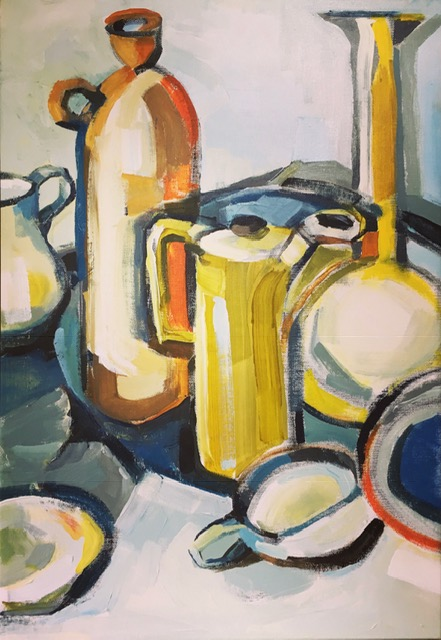 Artist: Kate Strachan  Title: Yellow Coffee Pot on Blue Tray  Size:  80 x 60 cm  Medium: Acrylic on canvas  Price: £950