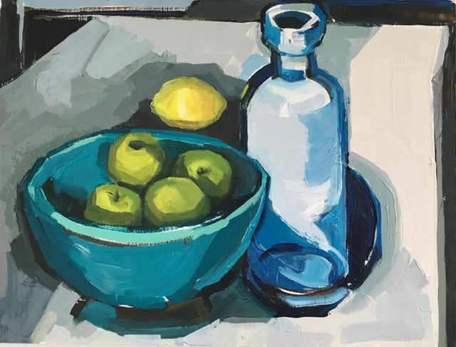 Artist: Kate Strachan  Title: Blue Bottle and Turquoise Bowl  Size: 30 x 40 cm  Medium: Acrylic on canvas  Price: £500