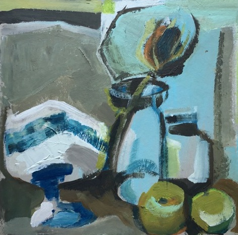 Artist: Kate Strachan  Title: Palette Painting, Fruit Bowl and Thistle  Size: 25 x 25 cm  Medium: Acrylic on board  Price: £370