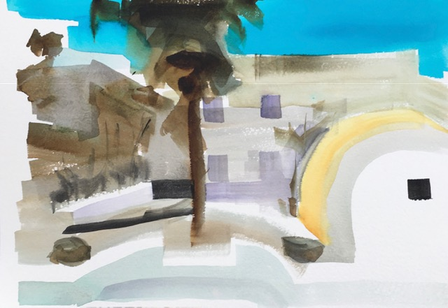 Artist: Kate Strachan  Title: Hotel Nota, Santorini  Size: 20 x 30 cm  Medium: Watercolour  Price: SOLD