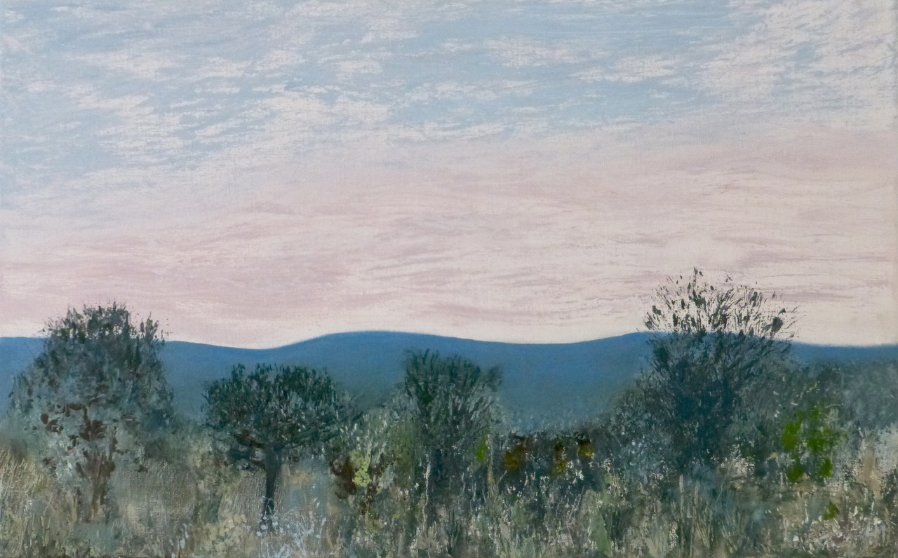 Artist: Luella Martin  Title: Distant Hills  Size:  38 x 60 cm  Medium: Oil on linen  Price: £1250