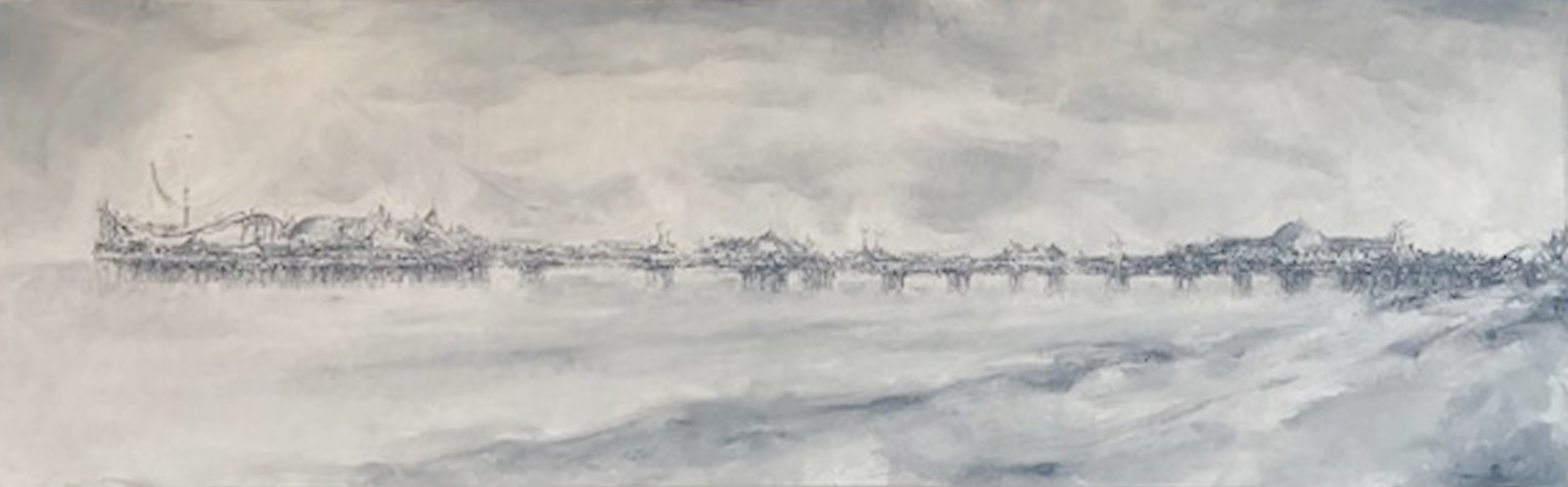 Artist: Solange Leon Irirate  Title: Light Day of Drifting Blue  Size: 30 x 100 cm  Medium: Oil on canvas  Price: £1250