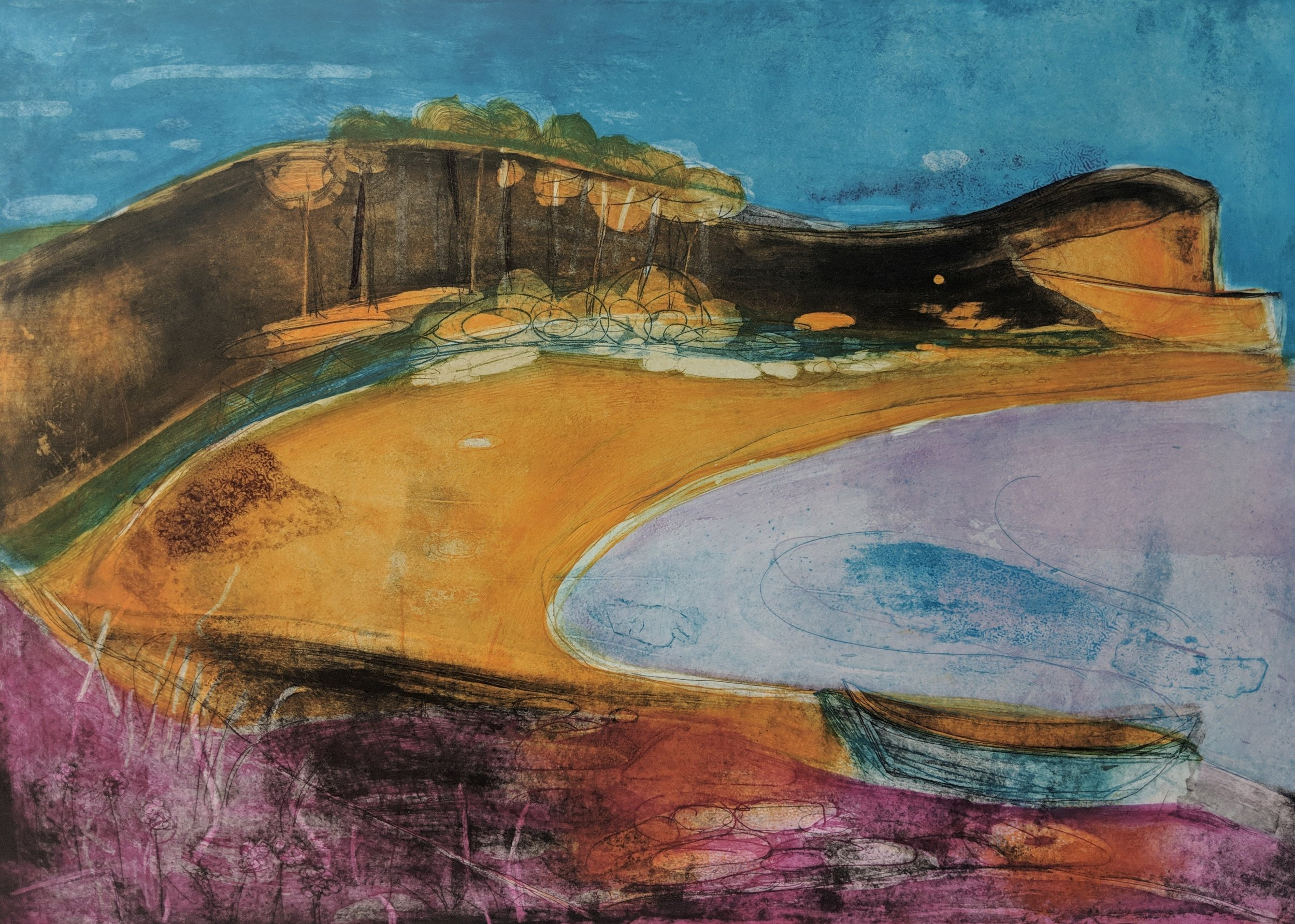 Artist: Louise Davies  Title: Summer Shorelines  Size: 50 x 70 cm  Medium: Etching (edition 9 / 75)  Price: £660 fr