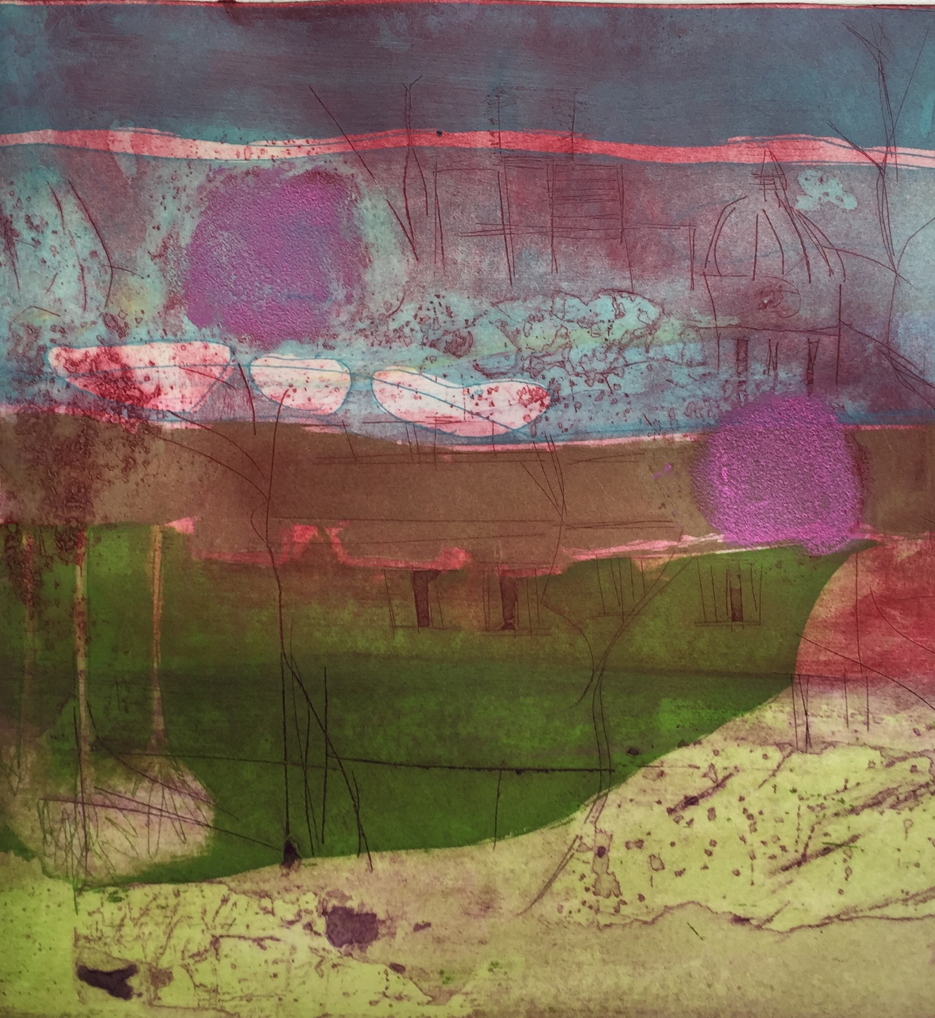 Artist: Louise Davies  Title: Spring Breeze  Size: 33 x 33 cm  Medium: Etching and collagraph  Price: £350 fr