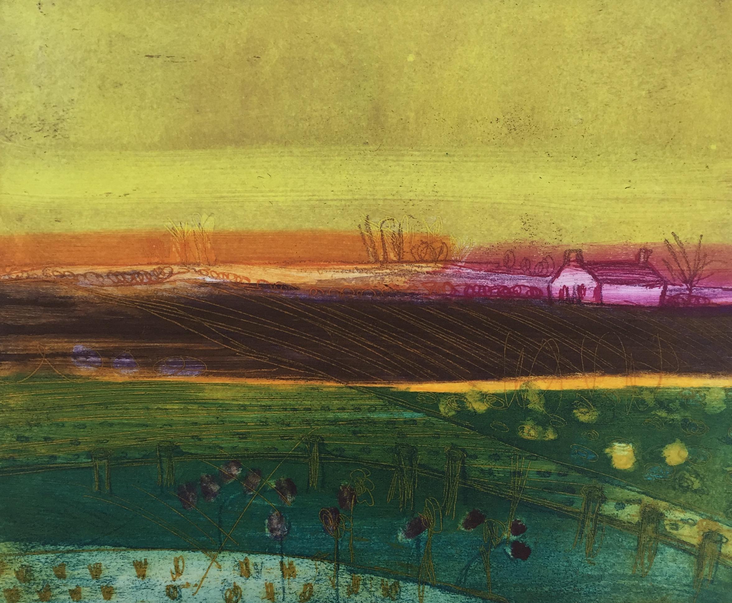 Artist: Louise Davies  Title: Skies End  Size: 20 x 25 cm  Medium: Etching (edition 3 / 75)  Price: £240 fr
