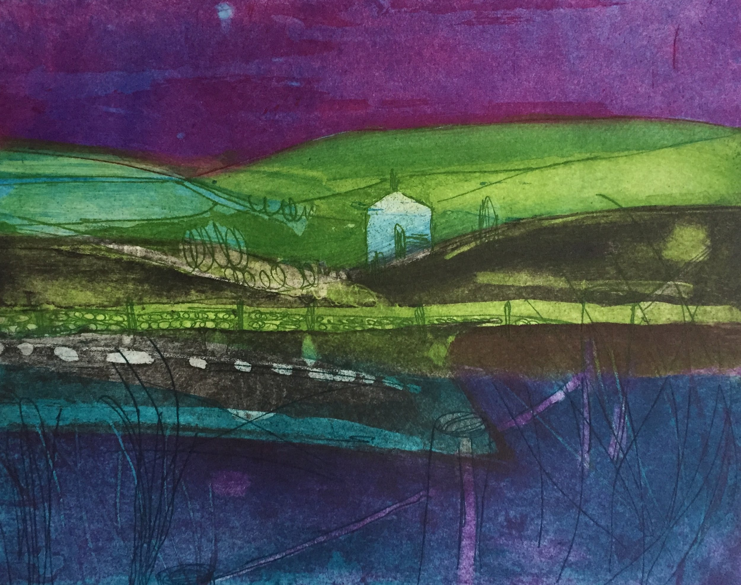 Artist: Louise Davies  Title: Moonlight Over the Moors  Size: 20 x 25 cm  Medium: Etching  Price: £240 fr
