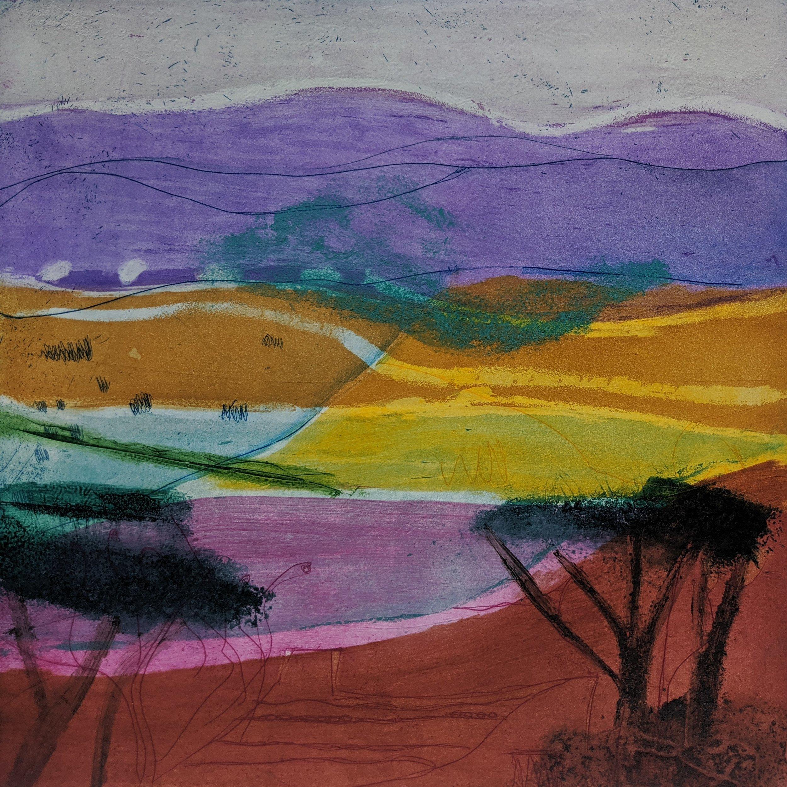 Artist: Louise Davies  Title: Summer Haze  Size: 33 x 33 cm  Medium: Etching  Price: £350