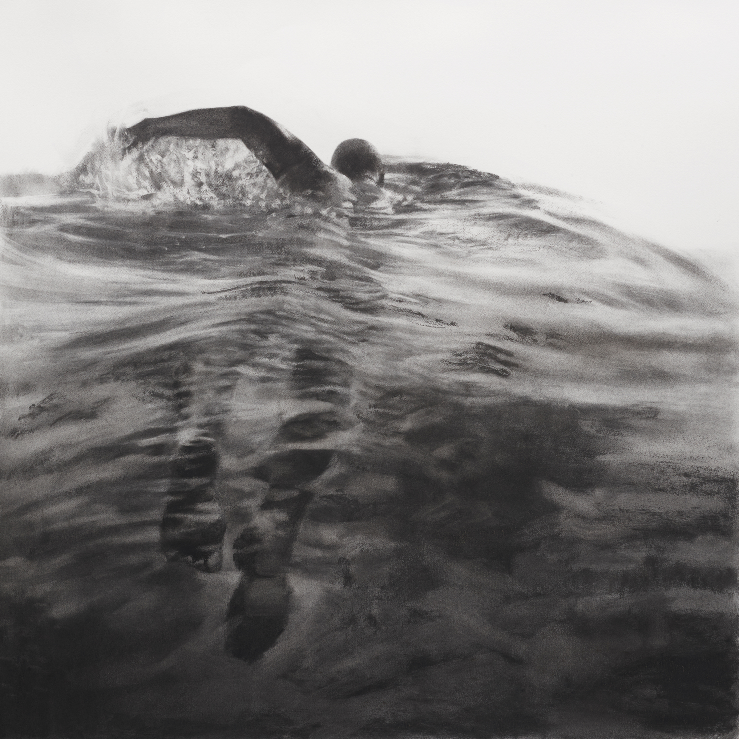 Artist: Patsy McArthur  Title: Sea Swimmer I  Size: 105 x 105 cm  Medium: Charcoal on paper  Price: £3500