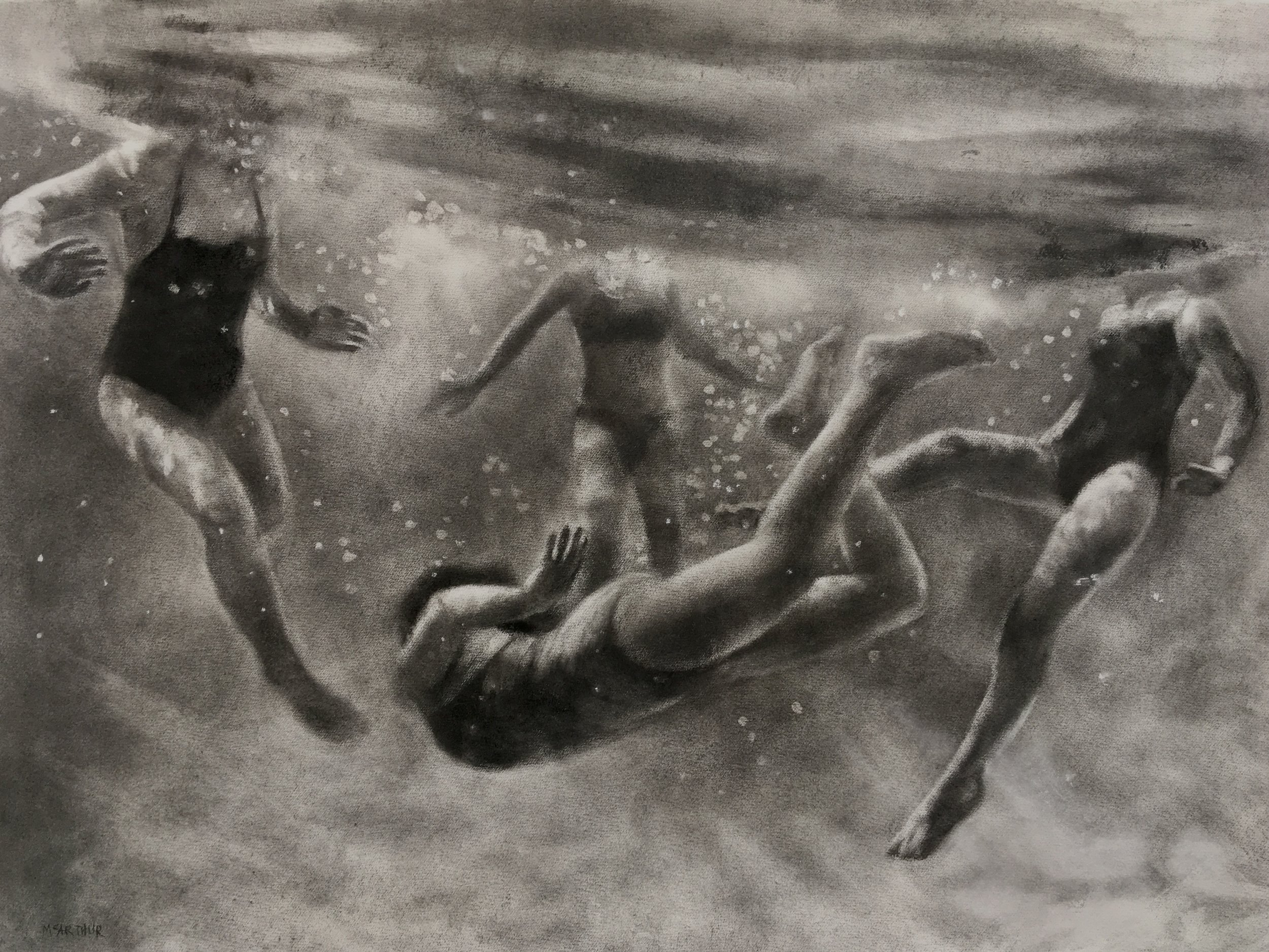 Artist: Patsy McArthur  Title: The Magic Cove  Size: 78 x 104 cm  Medium: Charcoal on paper  Price: £2700