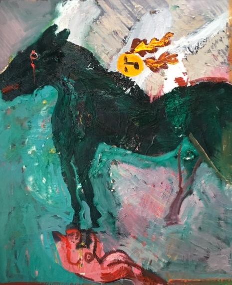 Artist: Luke Hannam  Title: The Fallen Rider and the Cornet  Size: 61 x 51 cm  Medium: Oil on canvas  Price: £1500