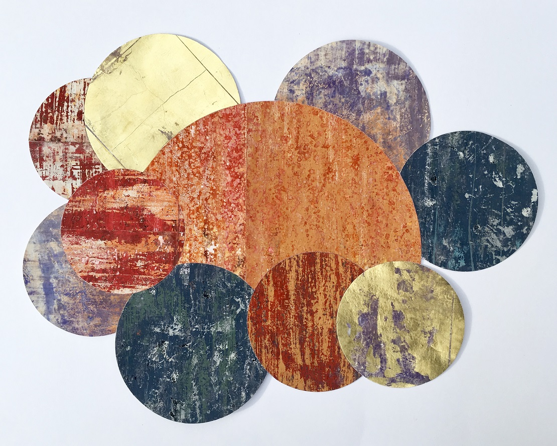 Artist: Alan McLeod  Title: A Poem of Planets  Size: 52 x 66 cm  Medium: Gouache and metal leaf on paper  Price: £680