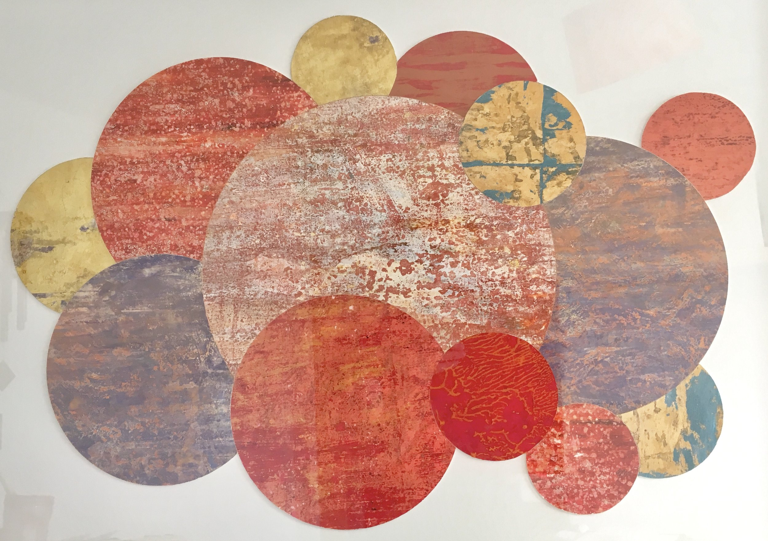 Artist: Alan McLeod  Title: Family of Planets  Size: 58 x 79 cm  Medium: Gouache and metal leaf on paper  Price: £680