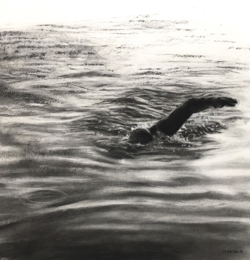 Artist: Patsy McArthur  Title: Infinity Pool Study II  Size: 71 x 71 cm  Medium: Charcoal on paper  Price: SOLD