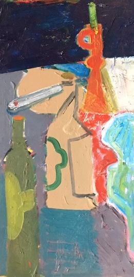 Artist: Luke Hannam  Title: Red Candlesticks at Northrepps  Size: 61 x 30 cm  Medium: Oil on panel  Price: £1300