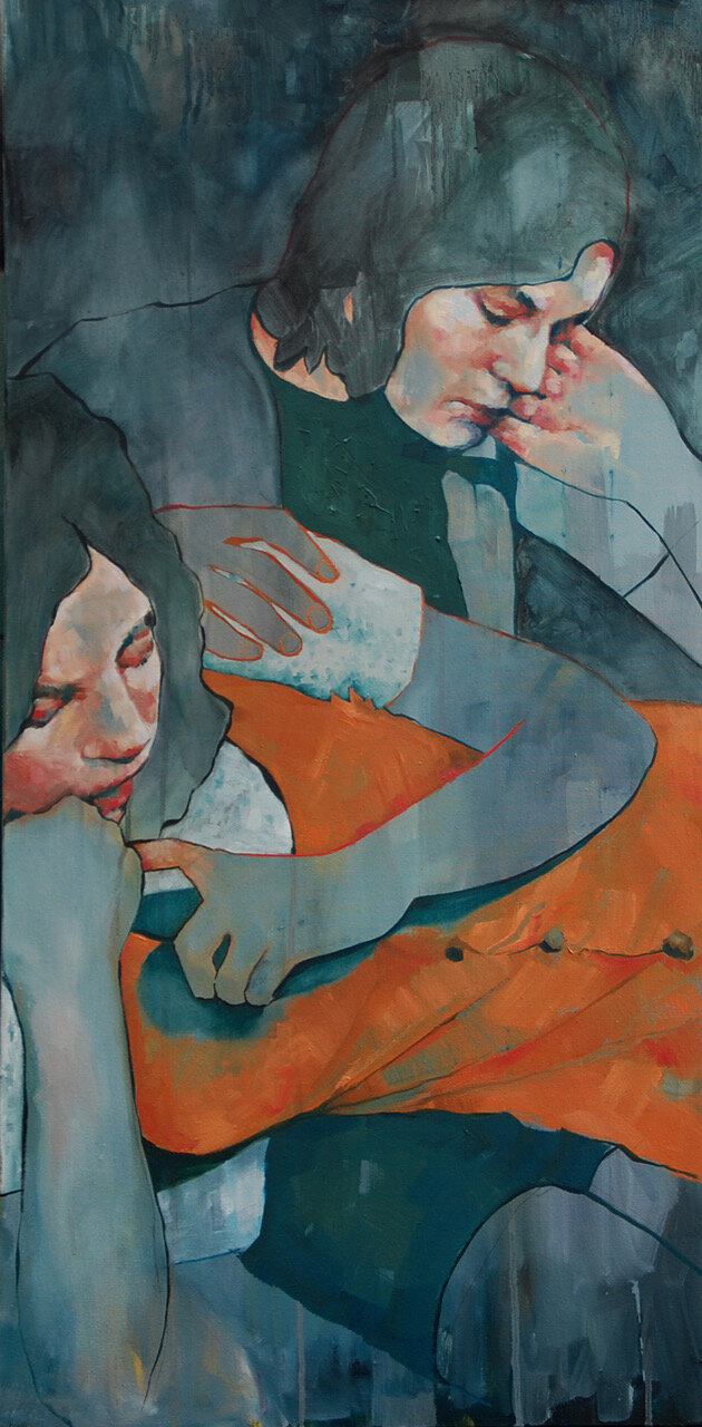 Artist: Amy Dury  Title: Glasgow Sisters  Size: 150 x 50 cm  Medium: Oil on canvas  Price: £900
