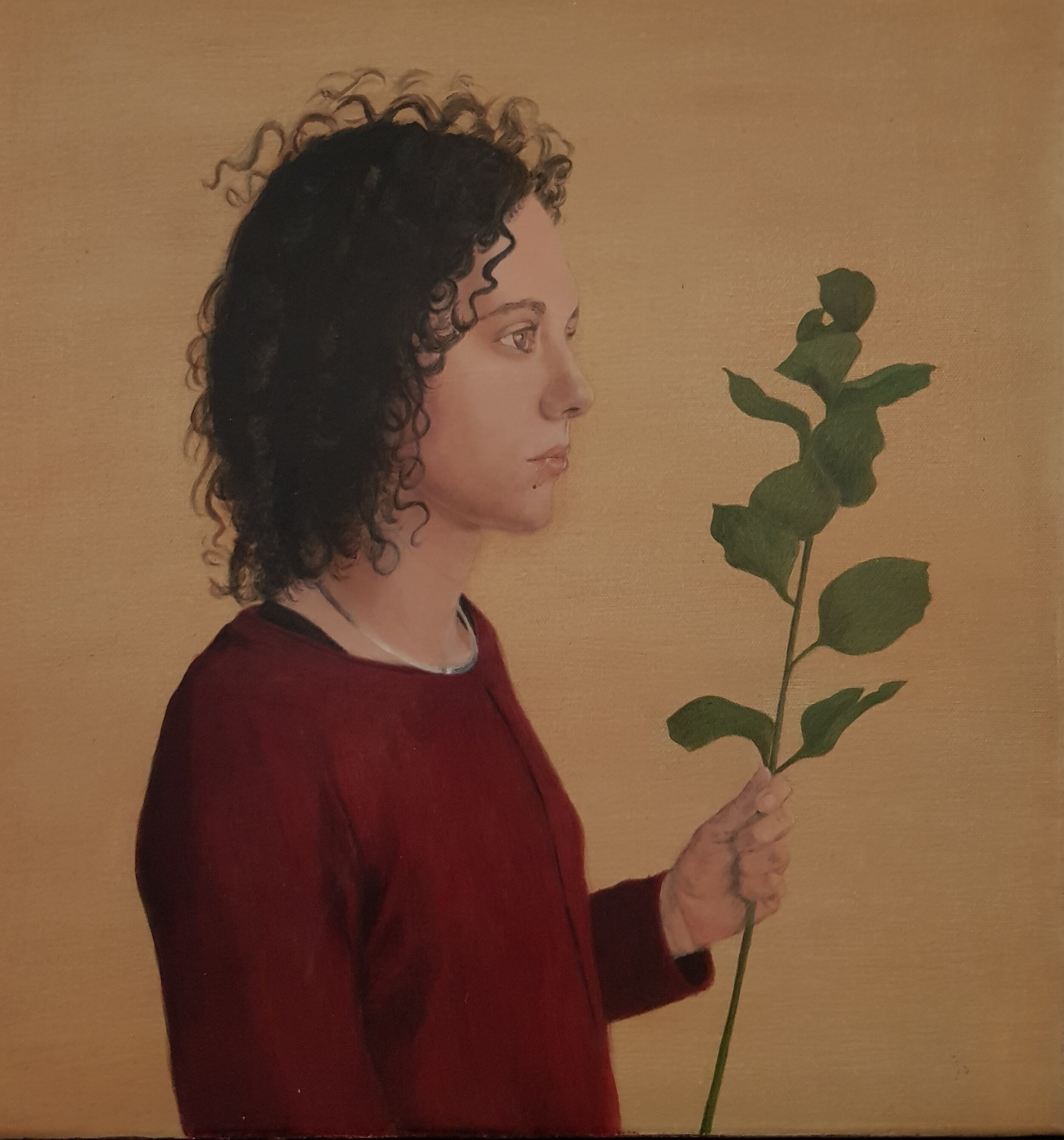 Artist: Rebecca Taylor  Title: Alice with Branch  Size: 40 x 40 cm  Medium: Acrylic on canvas