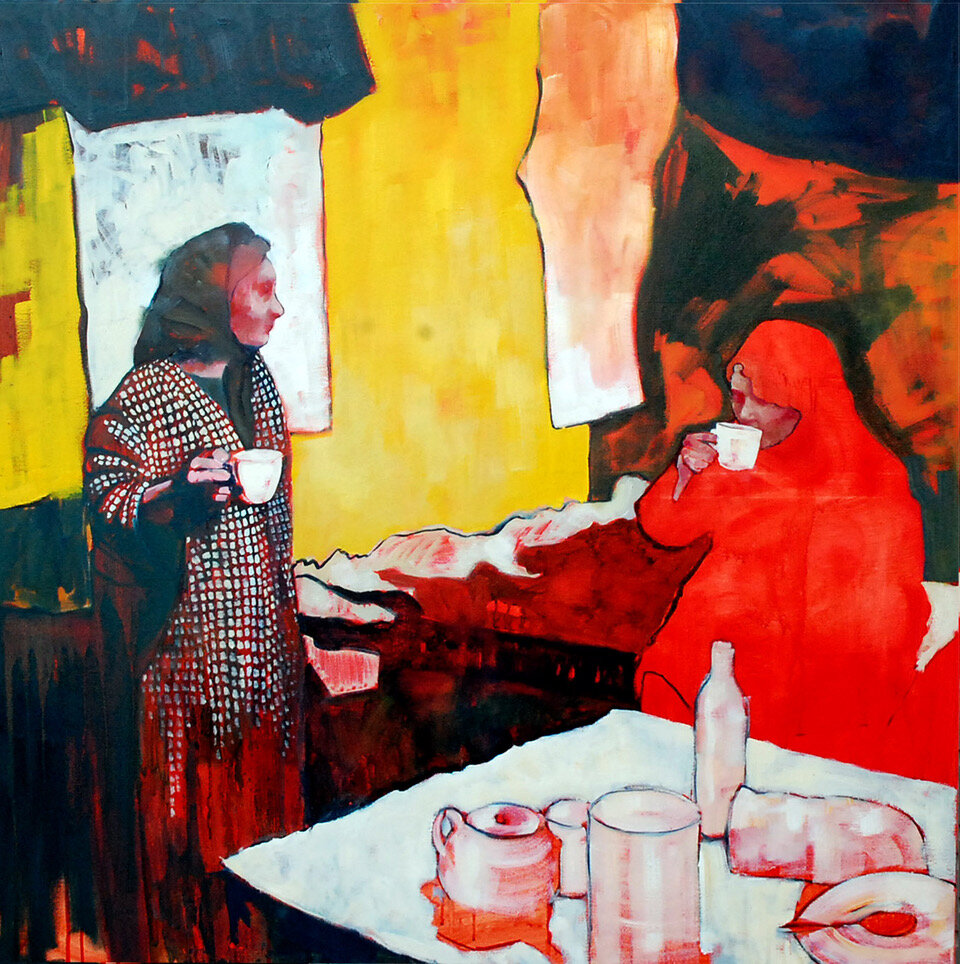 Artist: Amy Dury  Title: Tea  Size: 100 x 100 cm  Medium: Oil on canvas  Price: £1200