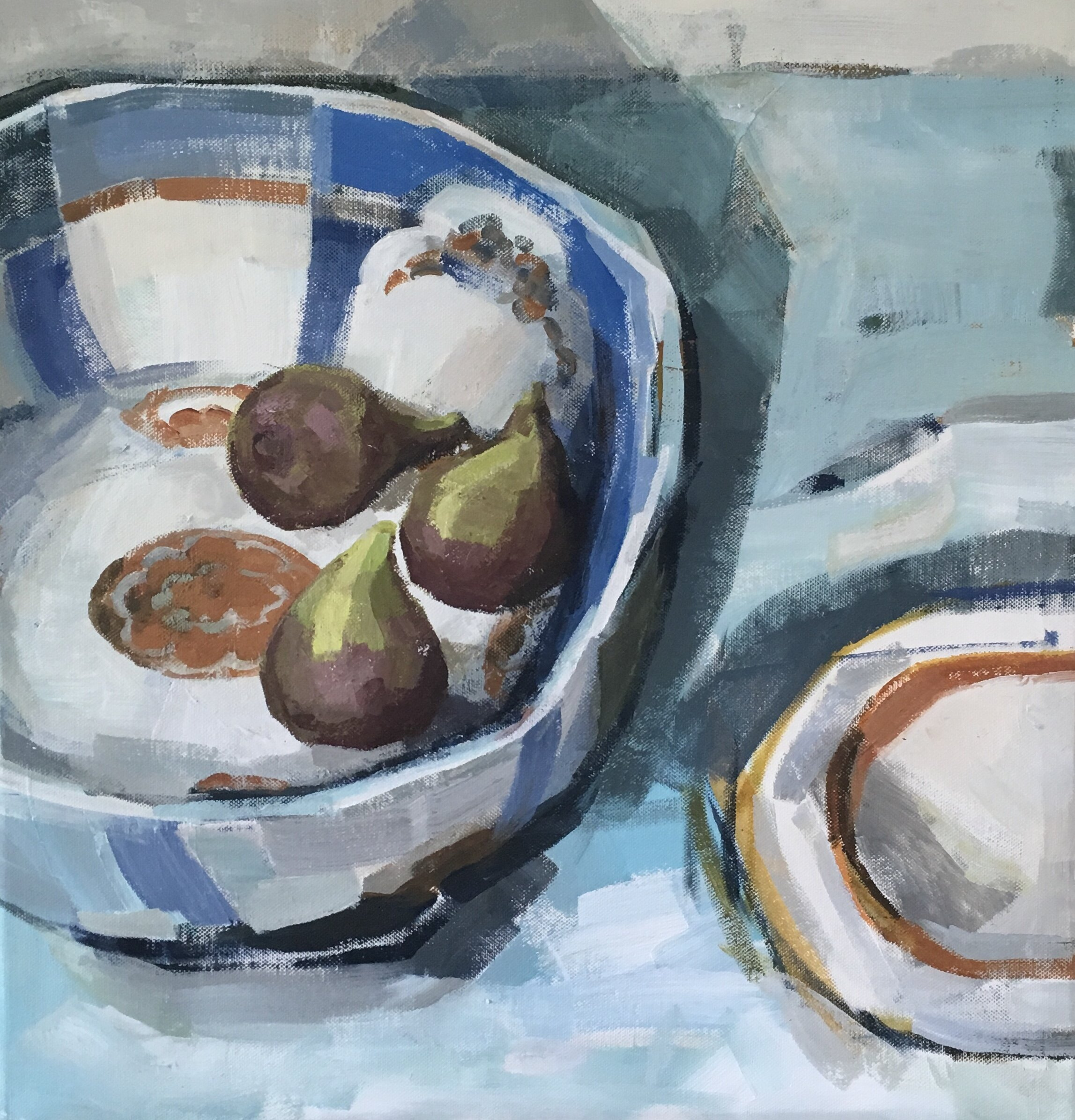 Artist: Kate Strachan  Title: Bowl of Dreams - Still Life with Bowl & Figs  Size: 50 x 50 cm  Medium: Acrylic on canvas  Price: £850