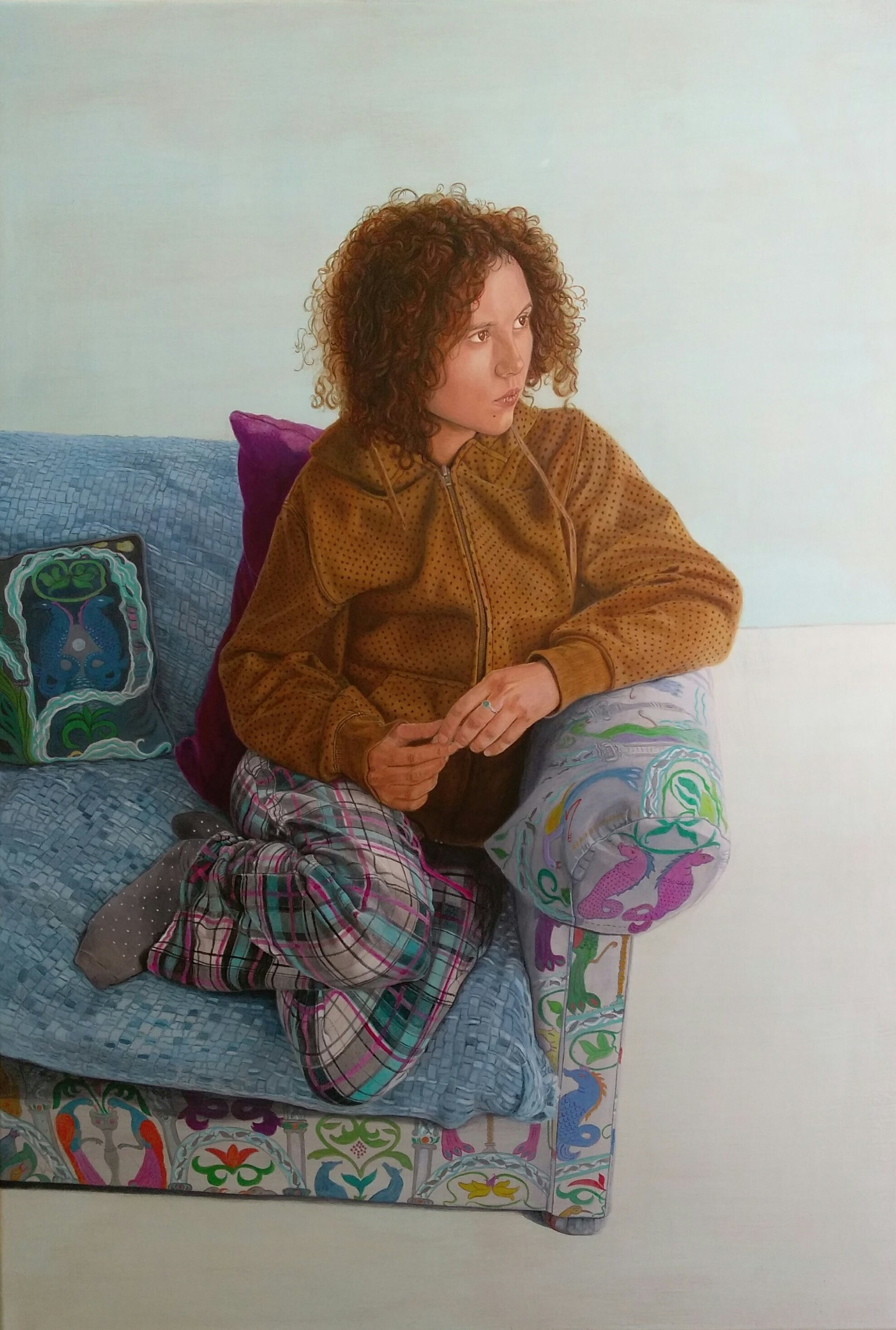 Artist: Rebecca Taylor  Title: Alice in Pyjamas  Size: 70 x 100 cm  Medium: Acrylic on canvas
