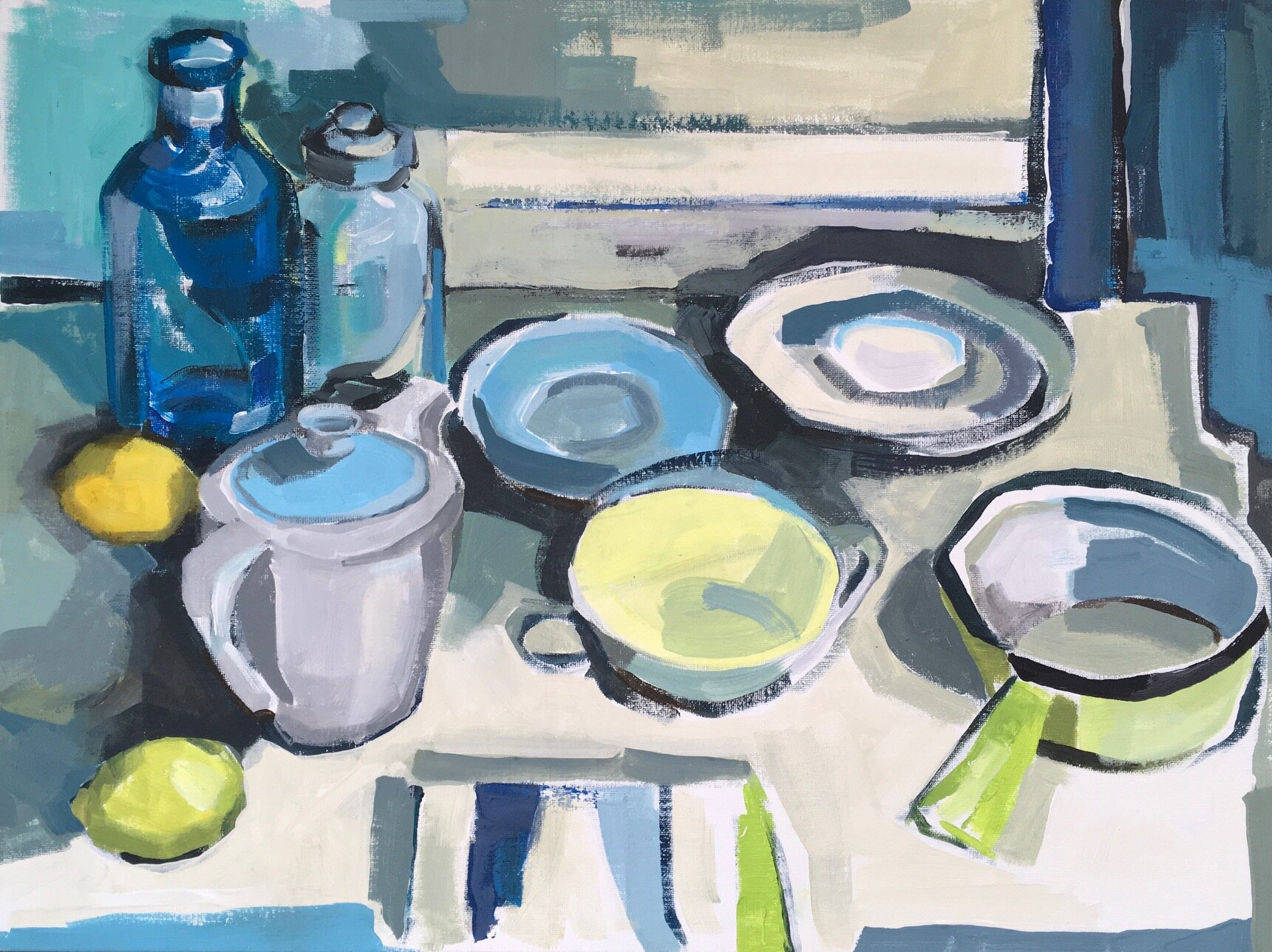 Artist: Kate Strachan  Title: Kitchen Sill Life with Poole Pottery & Saucepan  Size: 50 x 65 cm  Medium: Acrylic on board  Price: £850