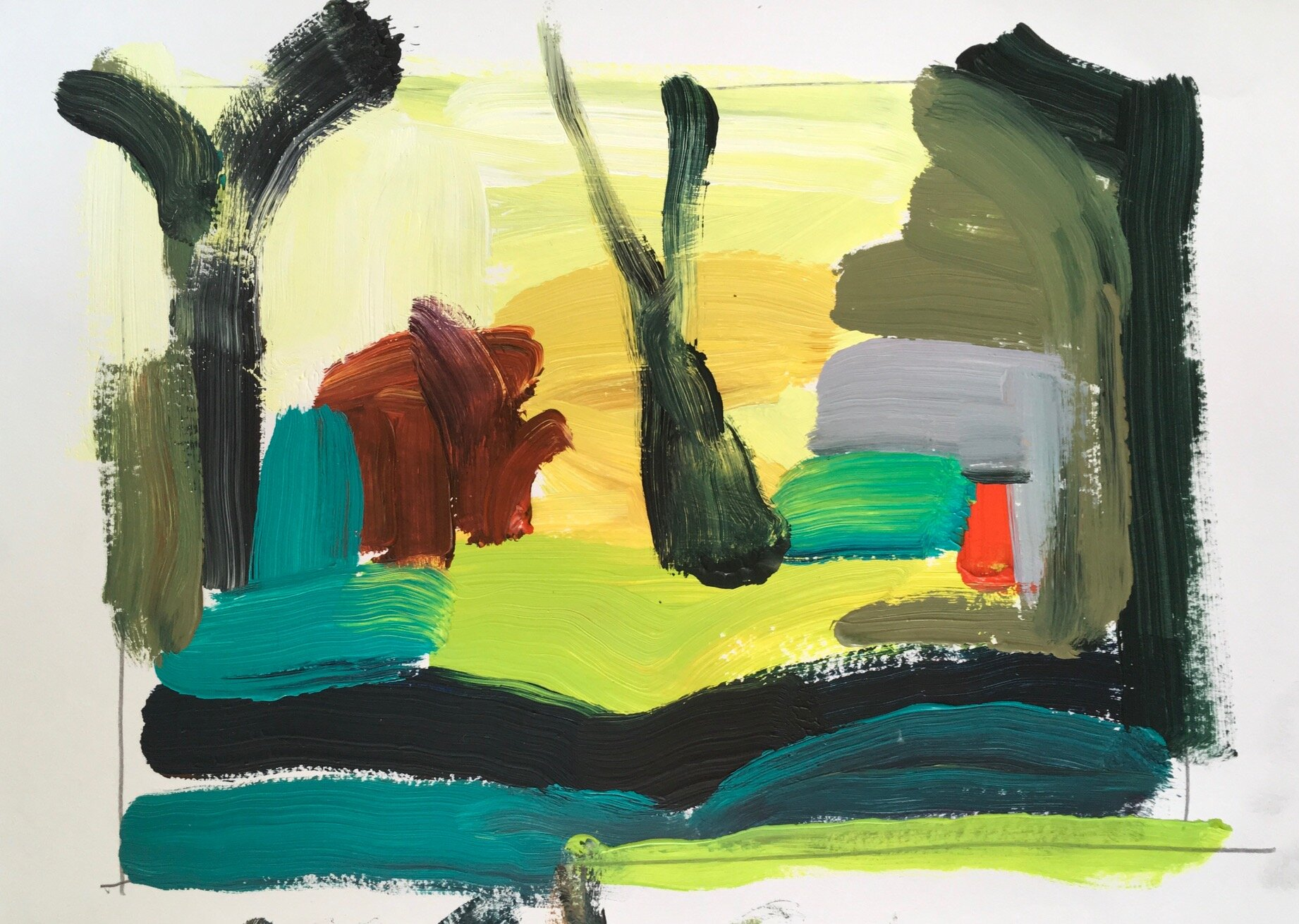 Artist: Kate Strachan  Title: Abstract Landscape  Size: 45 x 55 cm  Medium: Acrylic on paper  Price: £480