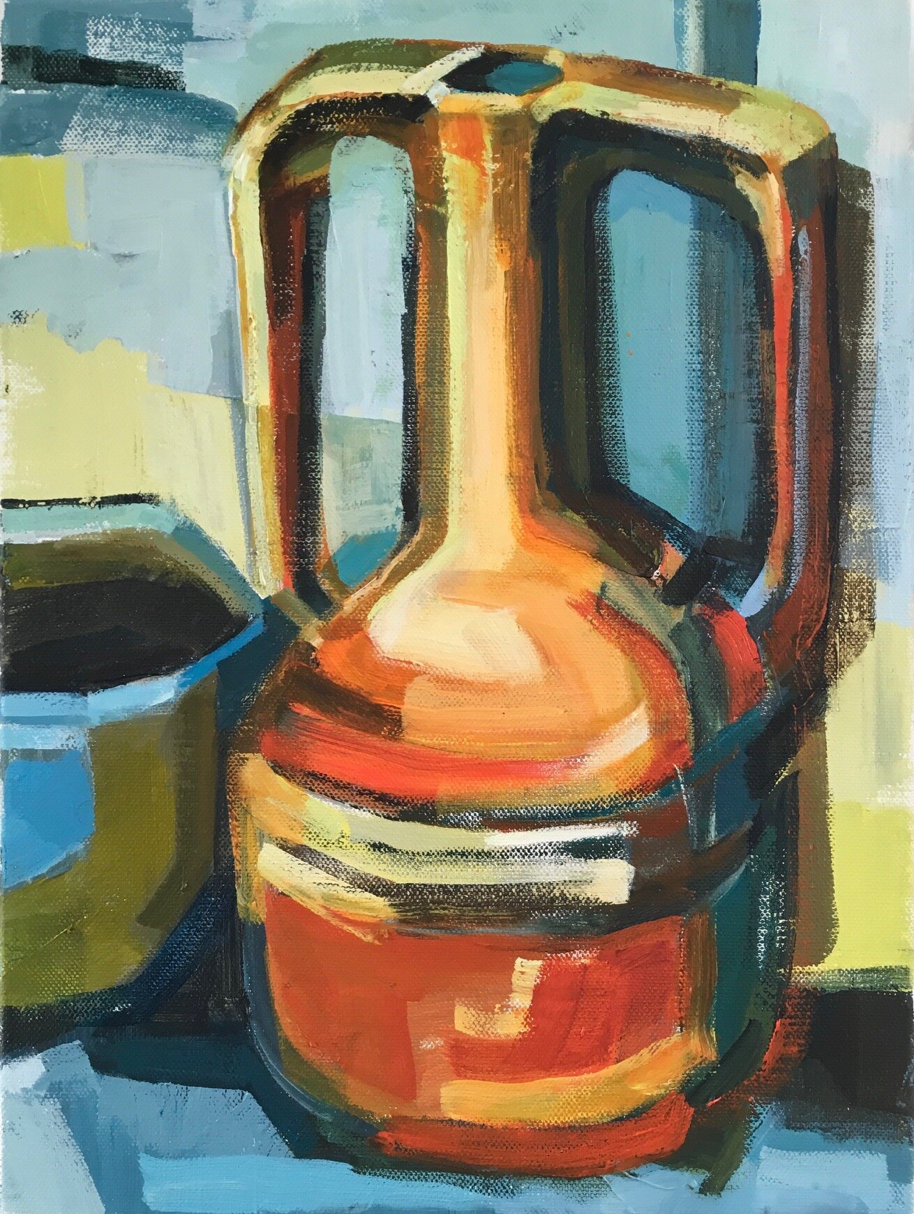 Artist: Kate Strachan  Title: Orange Vase with Olive and Blue Bowl  Size: 45 x 35 cm  Medium: Acrylic on canvas  Price: £600
