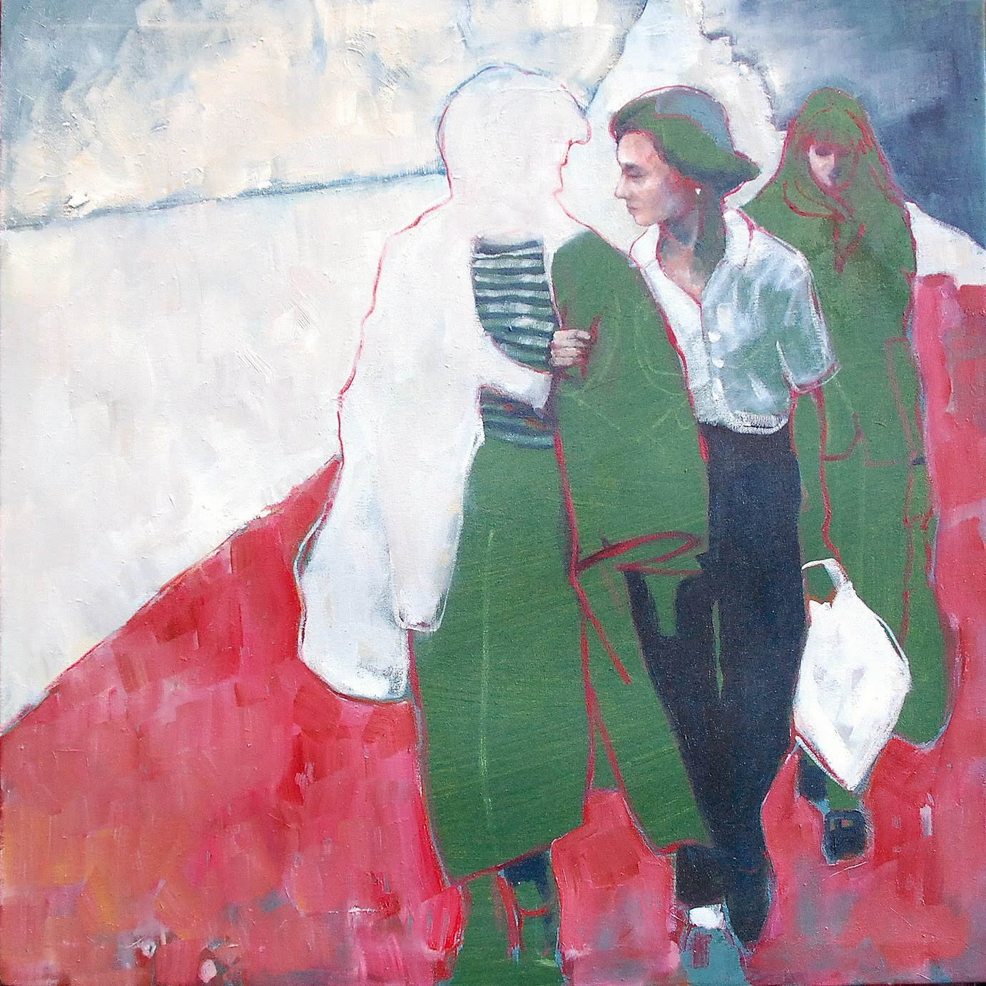 Artist: Amy Dury  Title: Lucy, Lucy, Ruth  Size: 60 x 60 cm  Medium: Oil on canvas  Price: £600