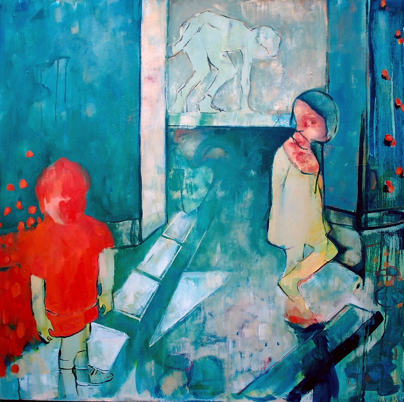 Artist: Amy Dury  Title: Three Children  Size: 100 x 100 cm  Medium: Oil on canvas  Price: £1200