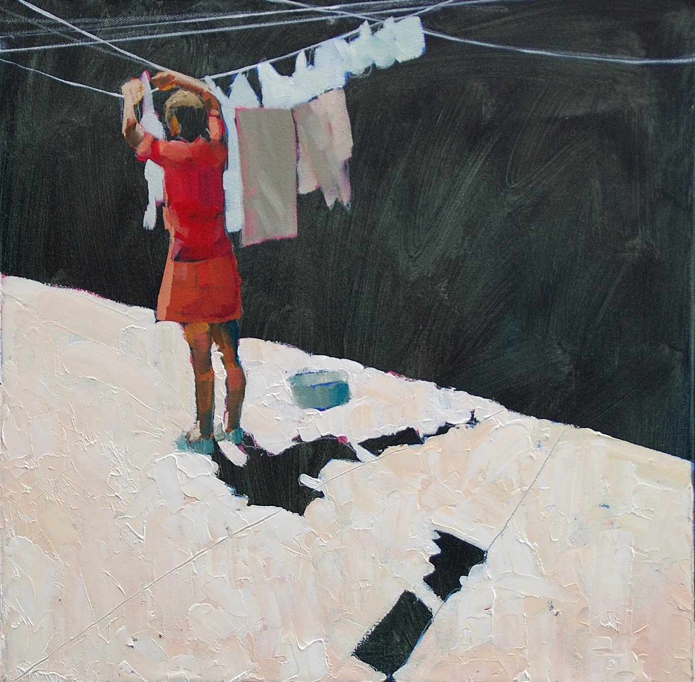 Artist: Amy Dury  Title: Washing  Size: 50 x 50 cm  Medium: Oil on canvas  Price: £600