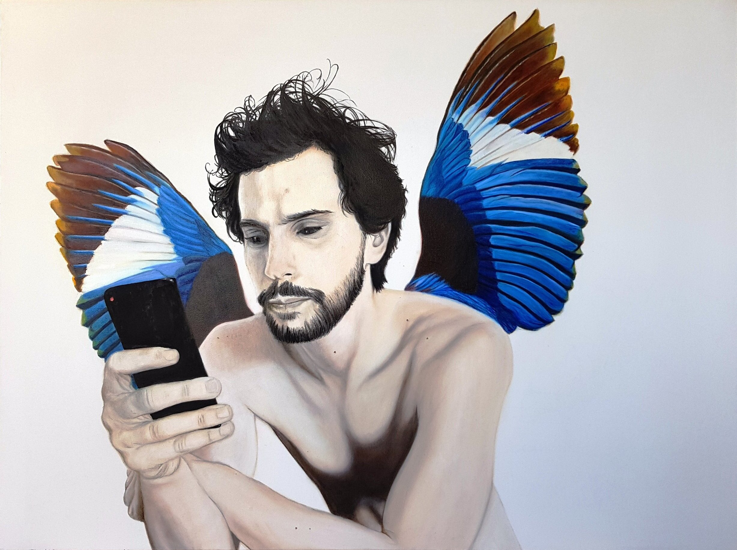 Artist: Rebecca Taylor  Title: Man with Wings  Size: 76 x 101 cm  Medium: Oil on canvas