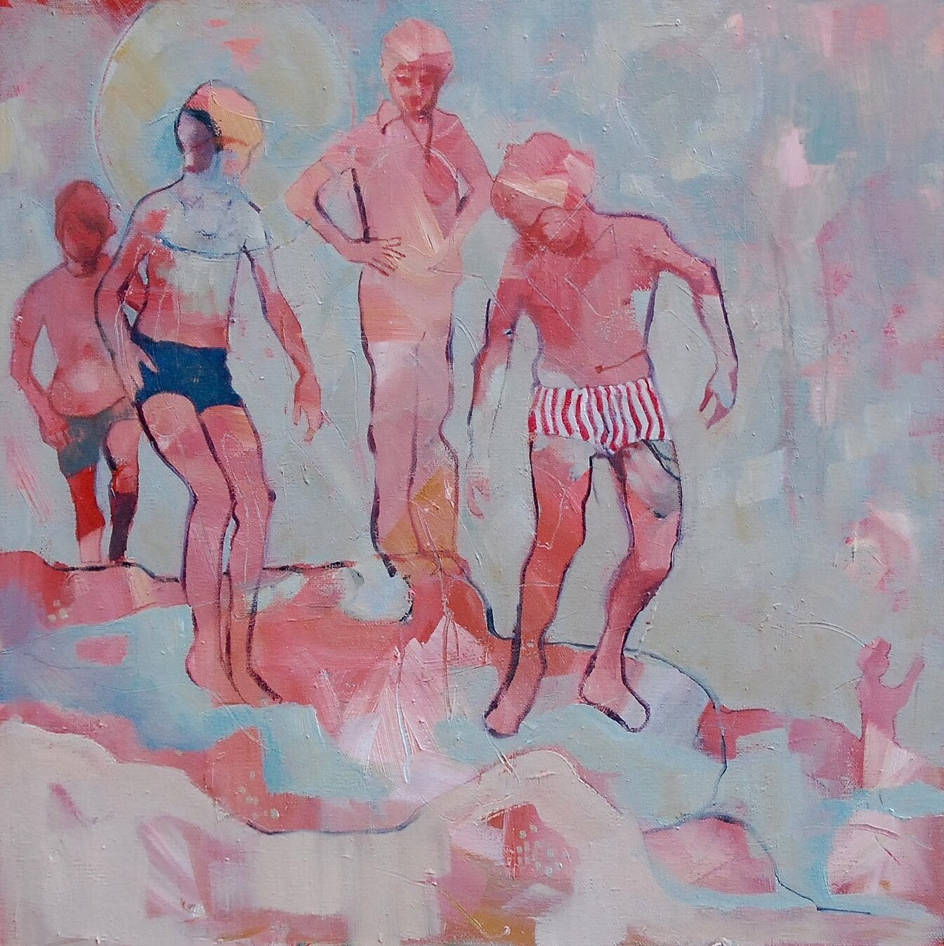 Artist: Amy Dury  Title: Scottish Swimmers  Size: 50 x 50 cm  Medium: Oil on canvas  Price: £600
