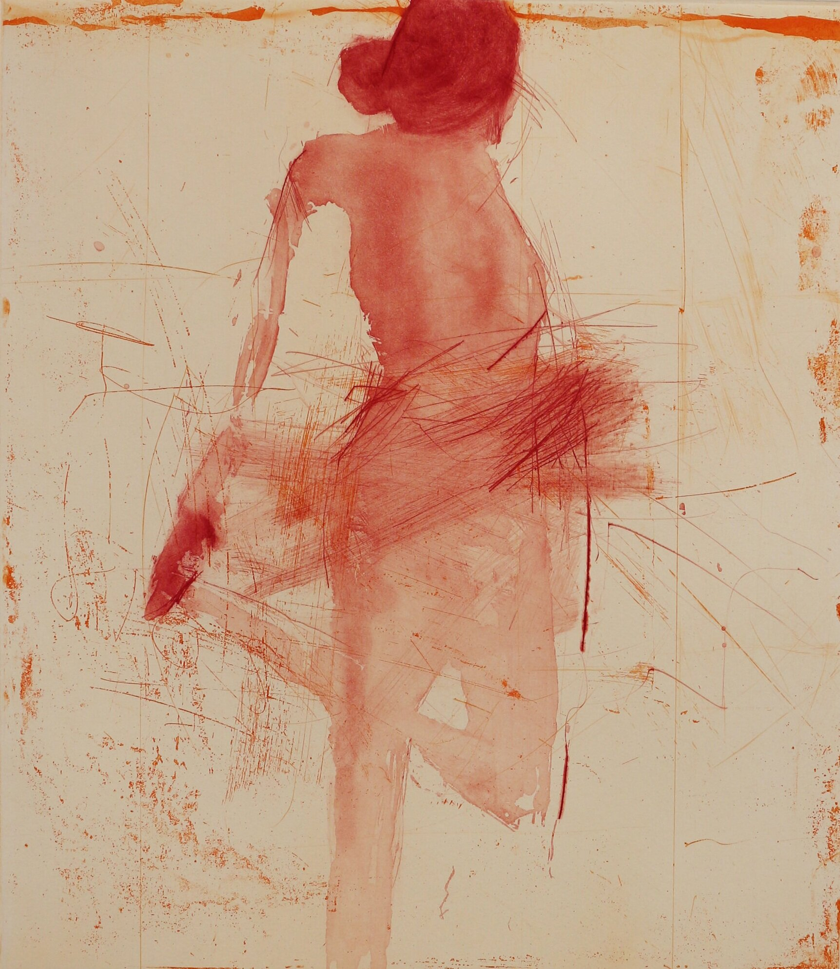 Artist: Henry Jabbour  Title: Dancer with Hand on Foot  Size: 38 x 33 cm  Medium: Lift ground etching and aquatint from two copper plates with dry point and spit bite  Price: £560