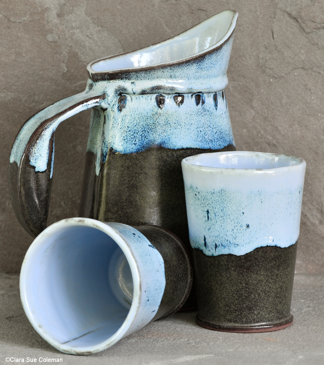 Water and Stone Pitcher and Tumblers - set