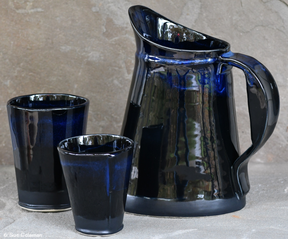 Onyx and Sapphire Pitcher and Tumblers