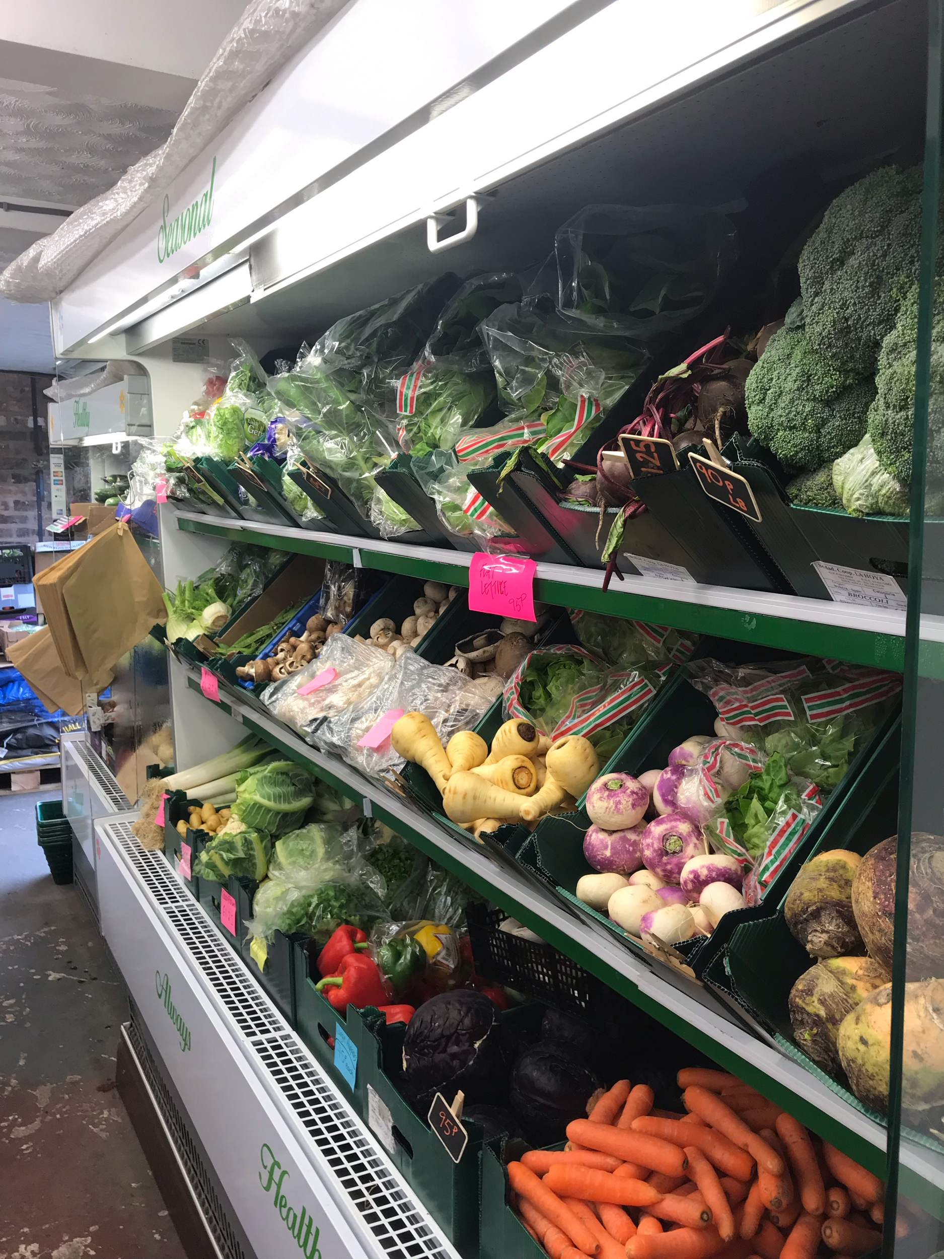 Large selection of fruit and veg on display