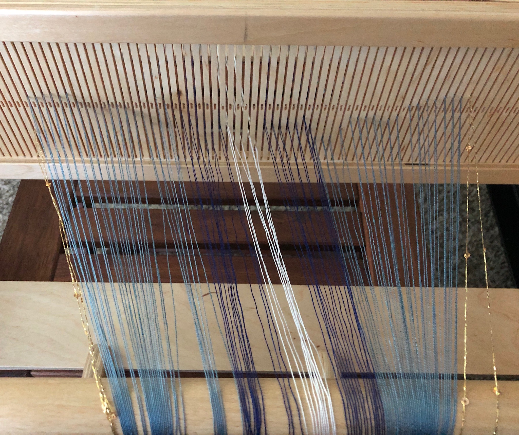 Image: incomplete warping of a Fine Threads one-of-a-kind design (part of  Crafty Scribe ) - part of the Ancient Egyptian color collection