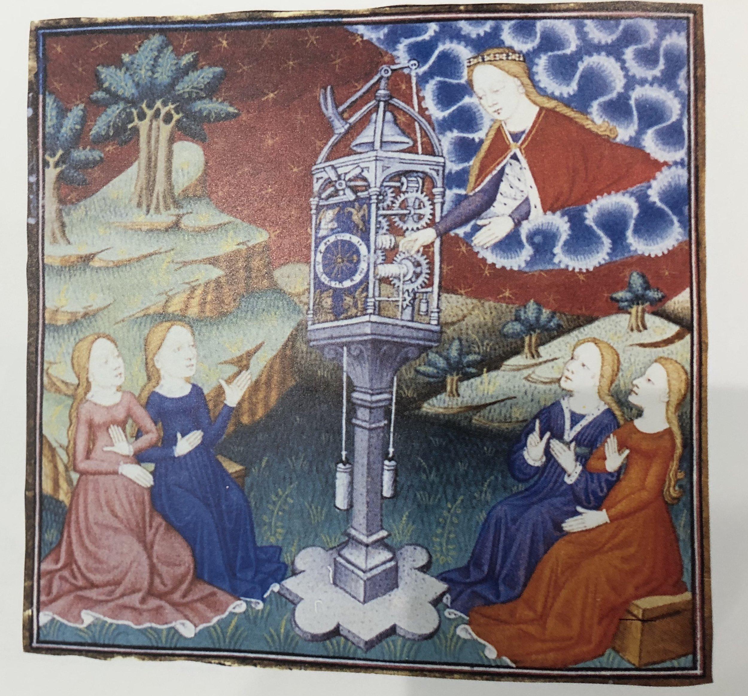 Image: an illustration in de Pisan's  Epitre d'Orthea  - The goddess Temperance winding a clock