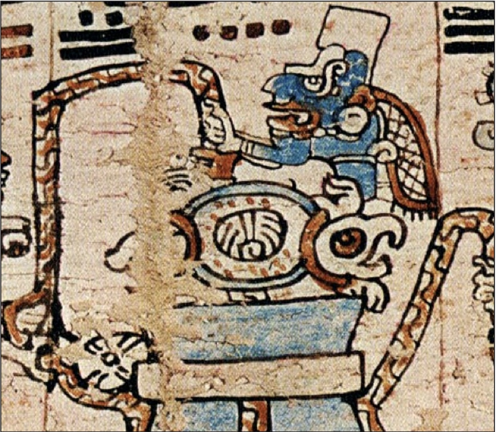 Image: the Mayan hieroglyph for YAX on the back of a turtle (Madrid Codex)