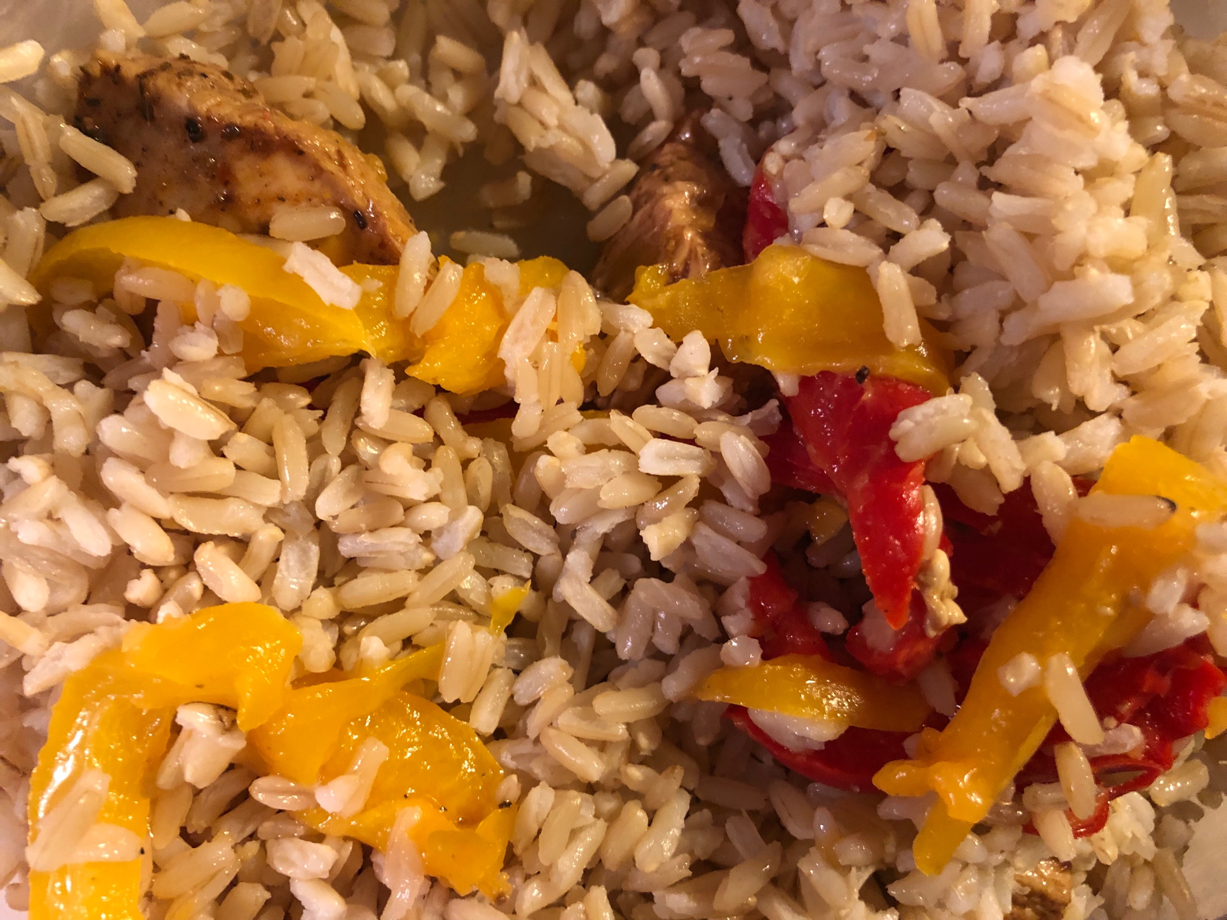 homecooked A1 chicken, brown rice, sautéed bell peppers in olive oil