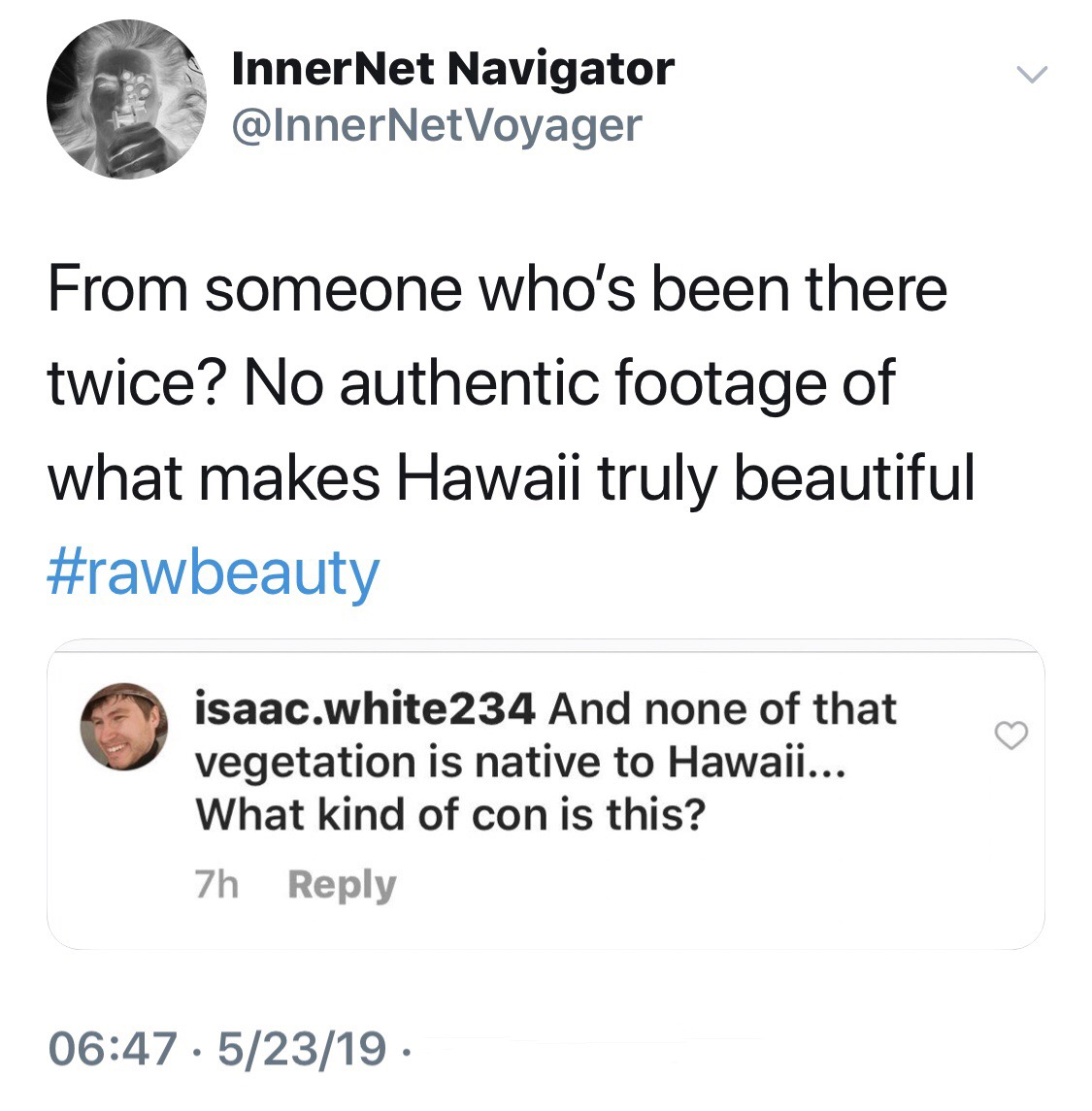 IMAGES: archived tweet + illustration of an outlier who questions his Hawaiian experience in his comment to JS's Surfing the landscape video at their Hawaiian resort