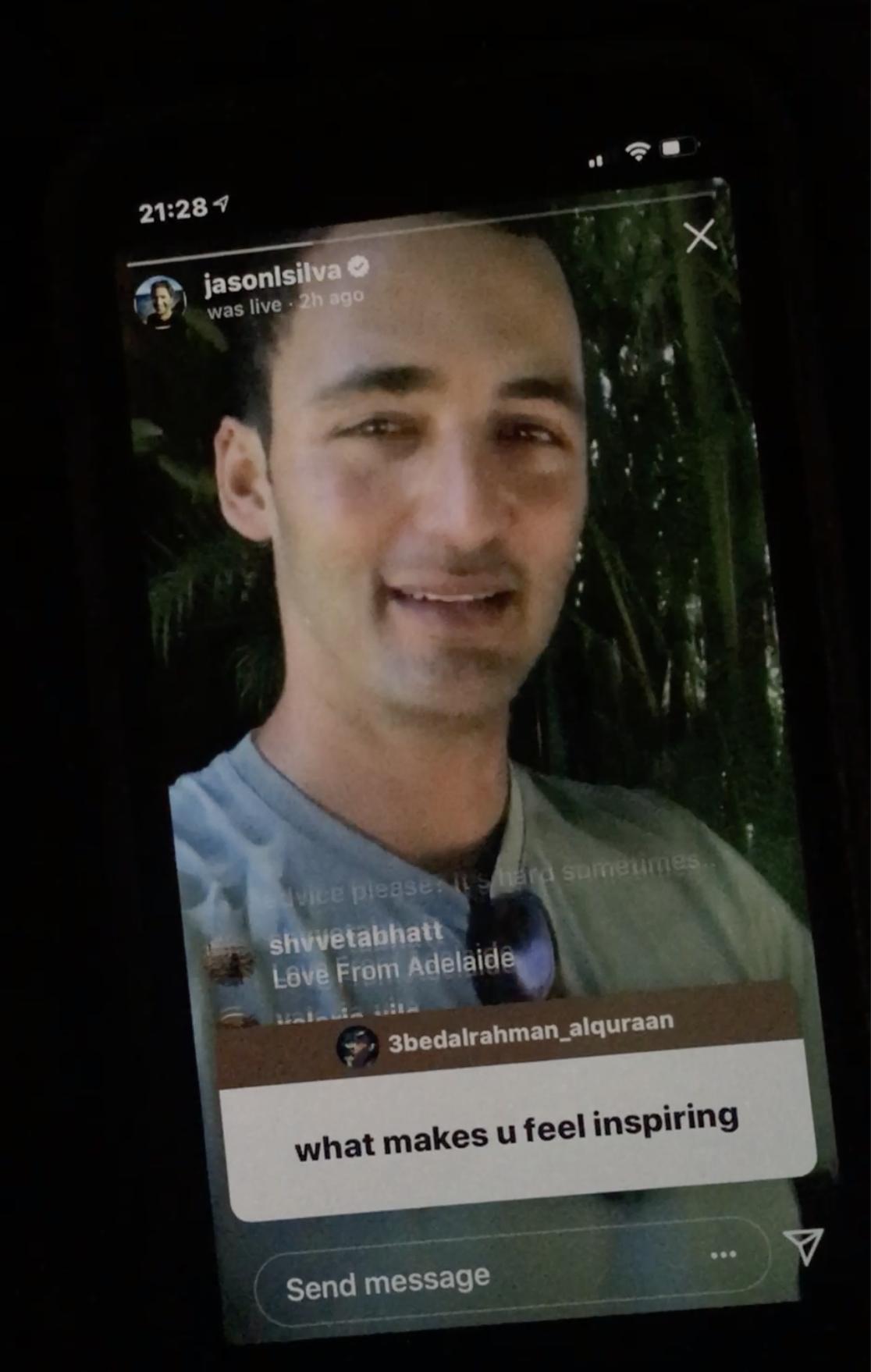 IMAGE: Jason Silva Instagram StoryRing 21 May 2019 … against a bamboo backdrop
