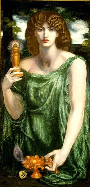 IMAGE:  Lamp of Memory  or  Ricordanza   Inscribed on the picture's frame is:   Thou fill'st from the winged chalice of the soul    Thy lamp, O Memory, fire-winged to its goal.   -Dante Gabriel Rossetti